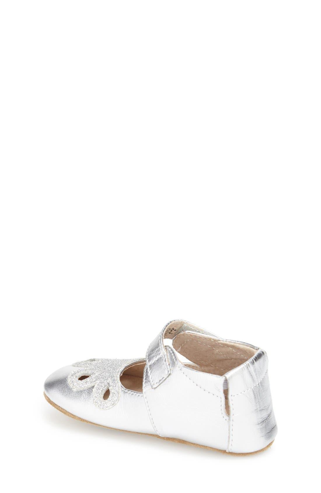 'Petal' Mary Jane Crib Shoe,                             Alternate thumbnail 2, color,                             Platinum