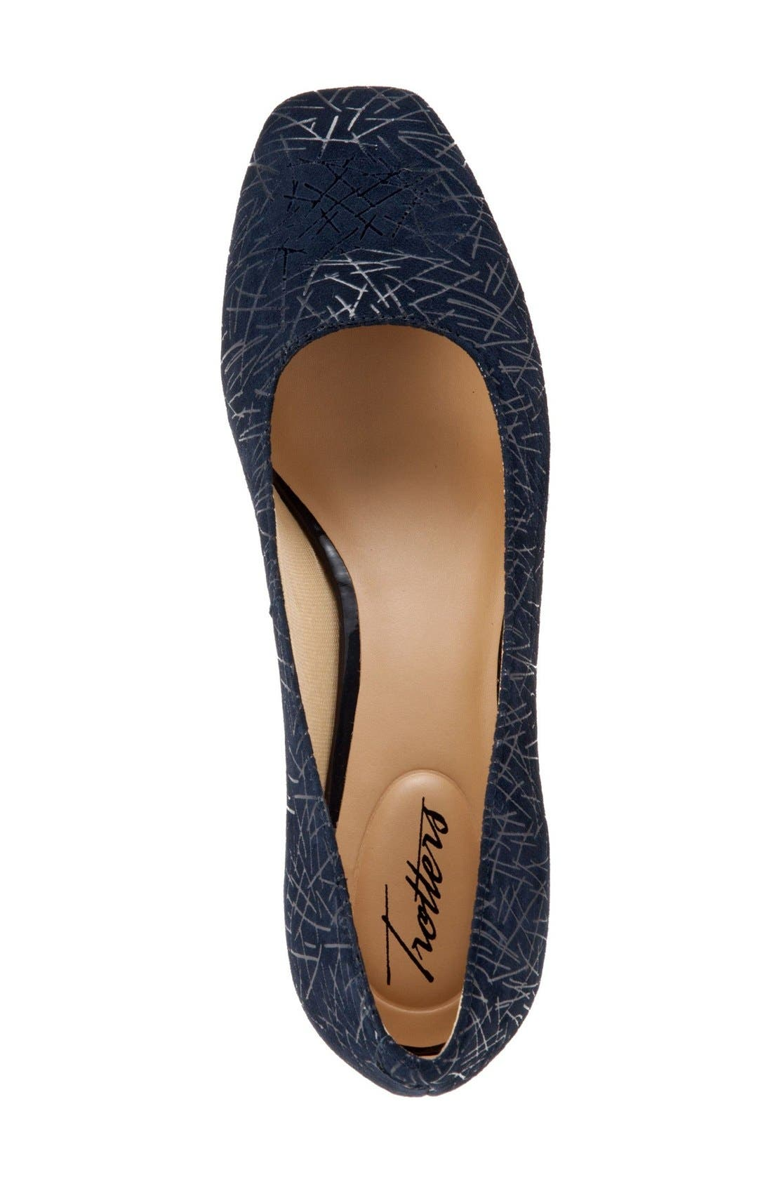 'Lola' Pump,                             Alternate thumbnail 3, color,                             Navy Embossed Leather