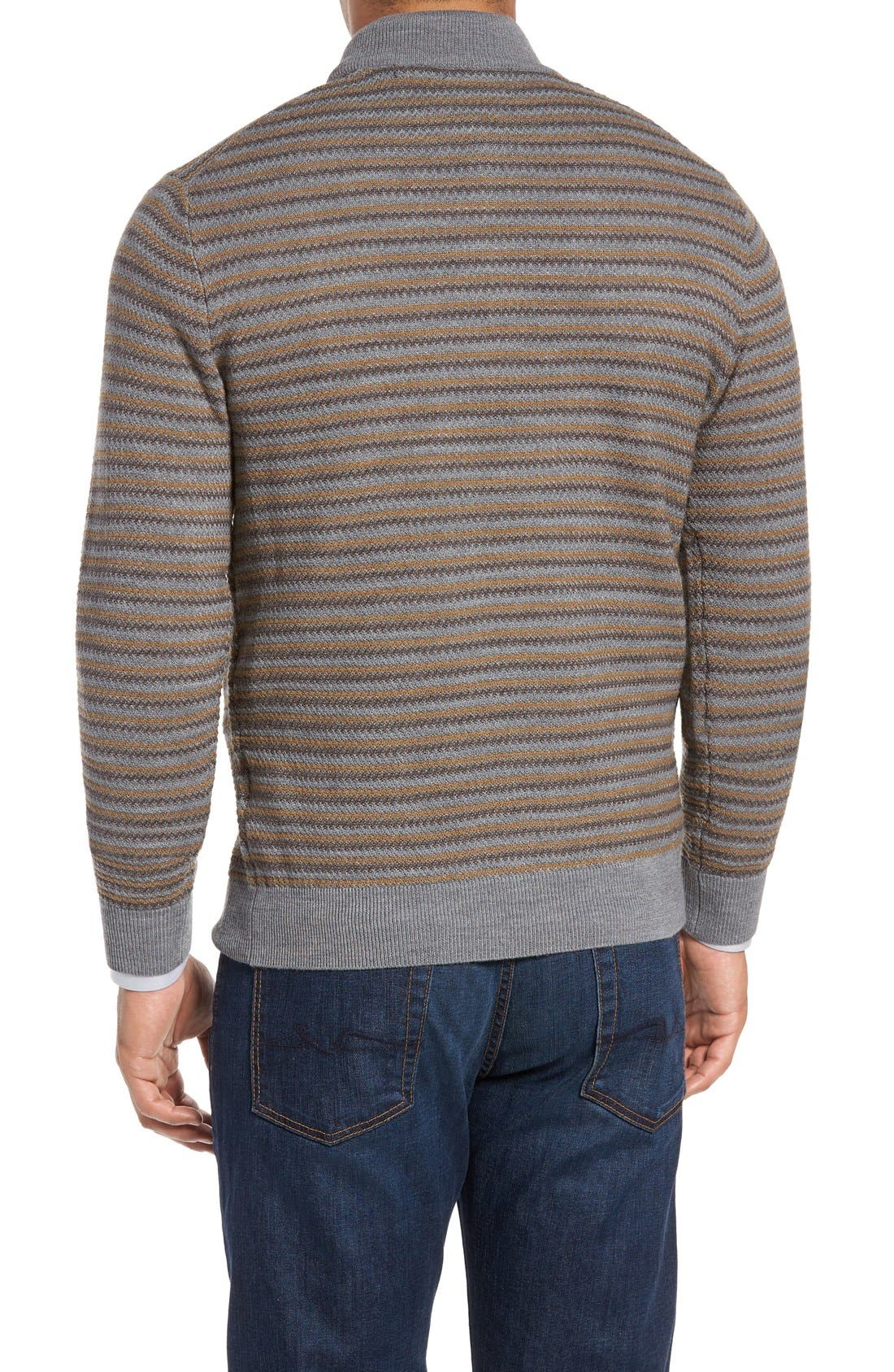 'Douglas Range' Quarter Zip Stripe Wool Blend Sweater,                             Alternate thumbnail 2, color,                             Brown/ Multi