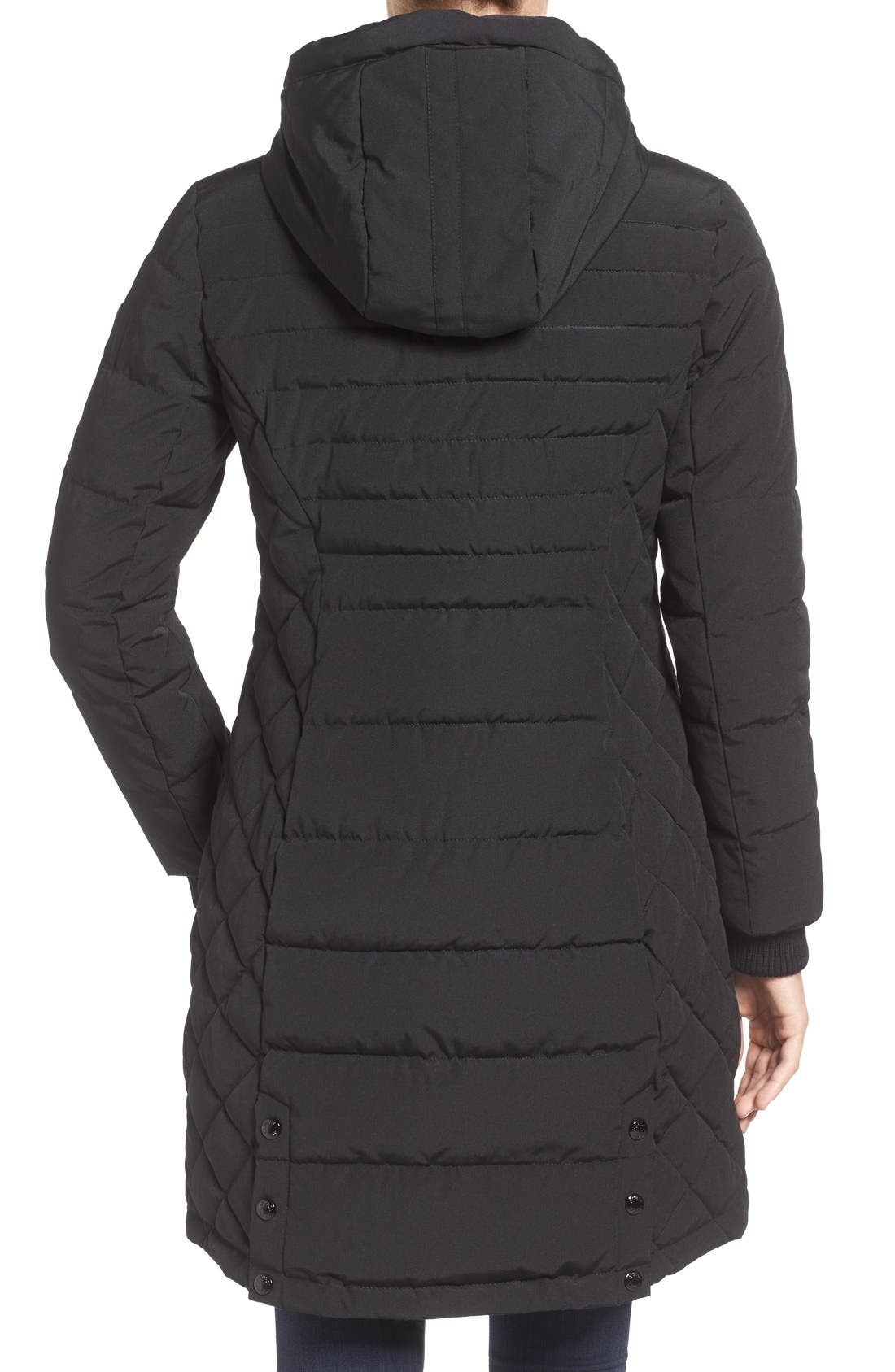 Quilted Hooded Puffer Coat,                             Alternate thumbnail 2, color,                             Black