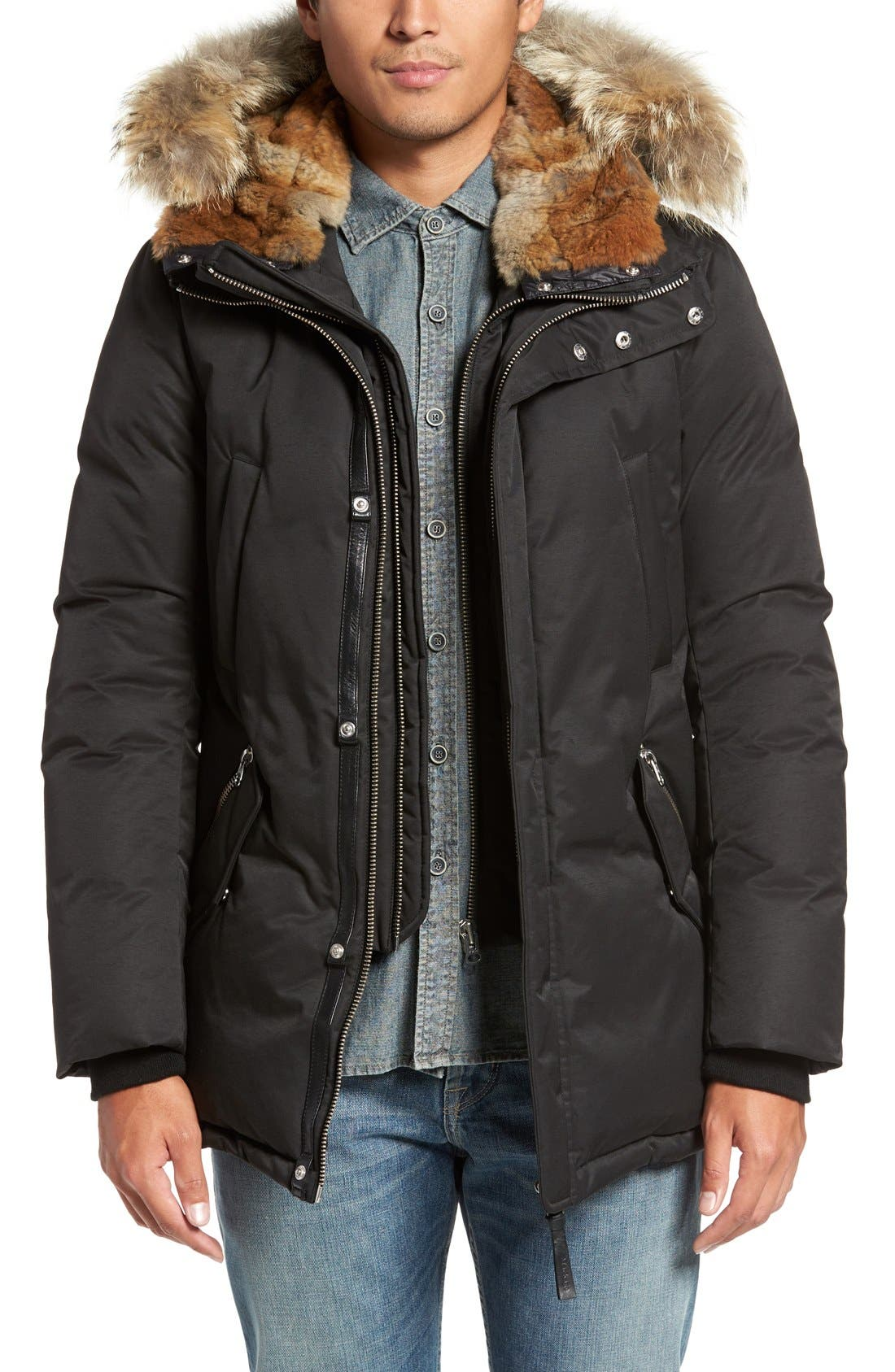 'Edward' Down Parka with Genuine Coyote and Rabbit Fur Trim,                         Main,                         color, Black