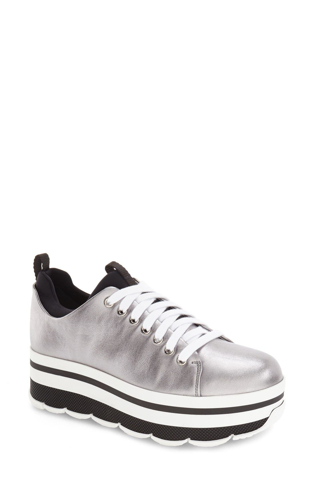 Platform Sneaker,                             Main thumbnail 1, color,                             Silver Leather