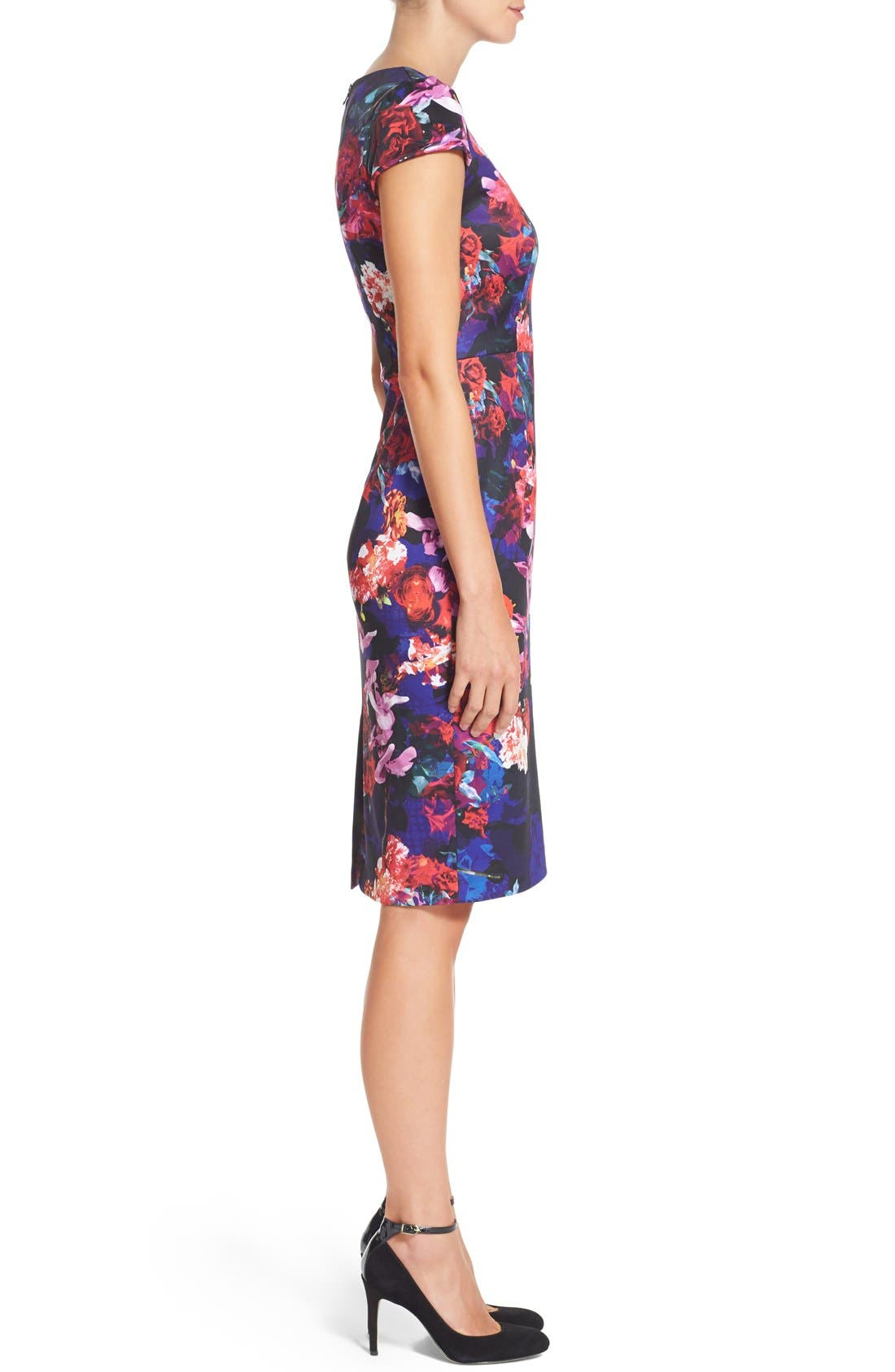 Alternate Image 3  - Betsey Johnson Print Stretch Midi Dress