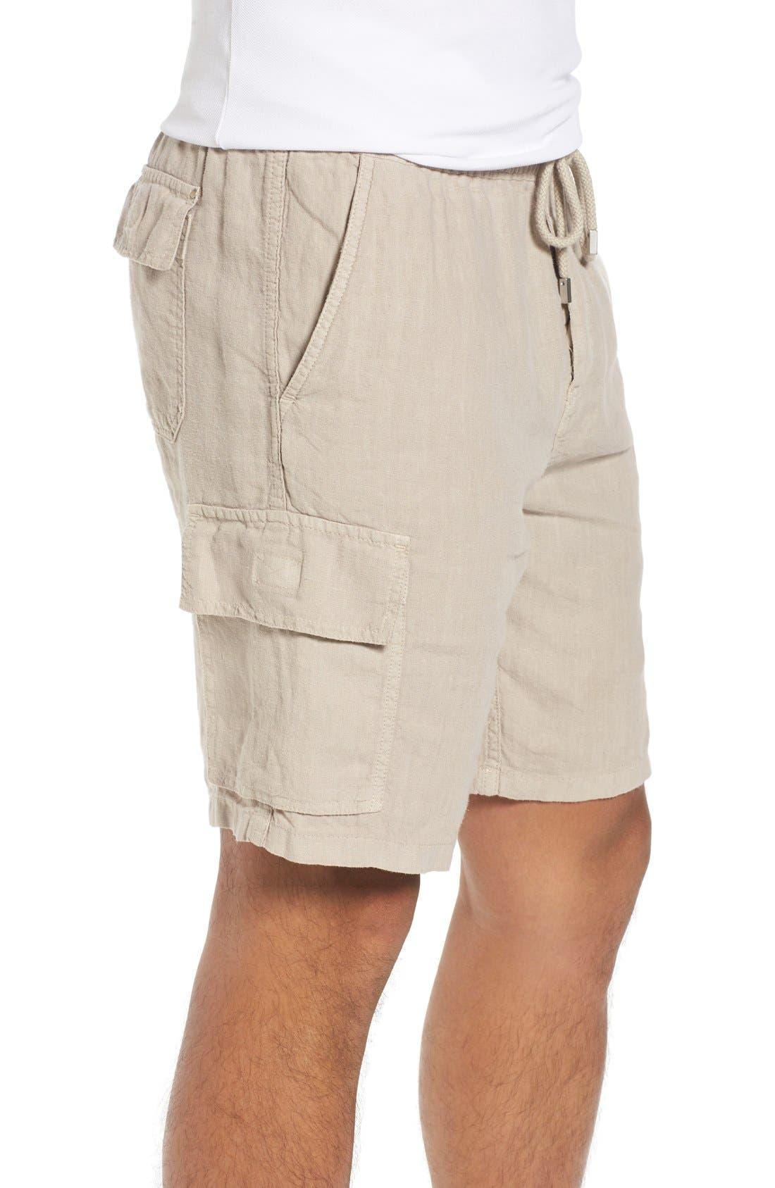 Vilbrequin Linen Cargo Shorts,                             Alternate thumbnail 3, color,                             Jute