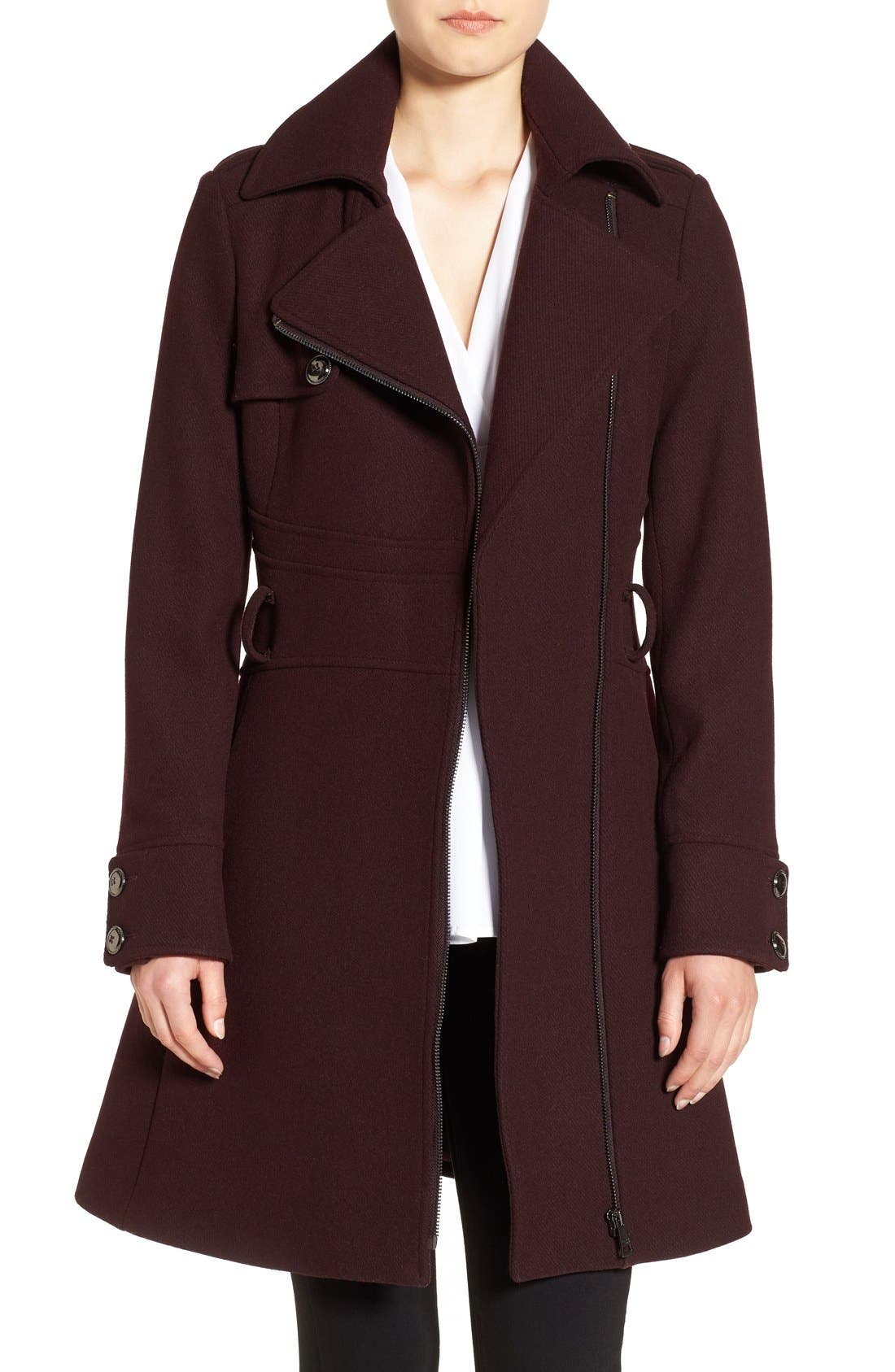 Fit & Flare Coat,                         Main,                         color, Oxblood
