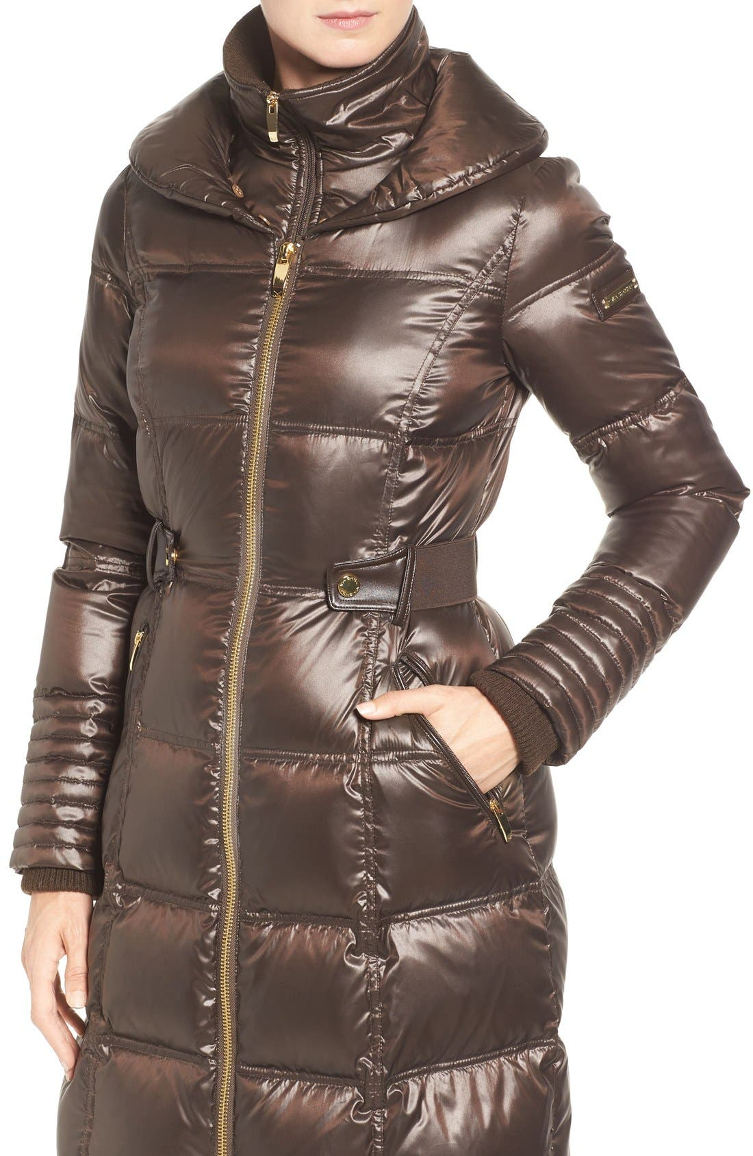 Quilted Coat with Faux Fur Trim,                             Alternate thumbnail 4, color,                             Brown