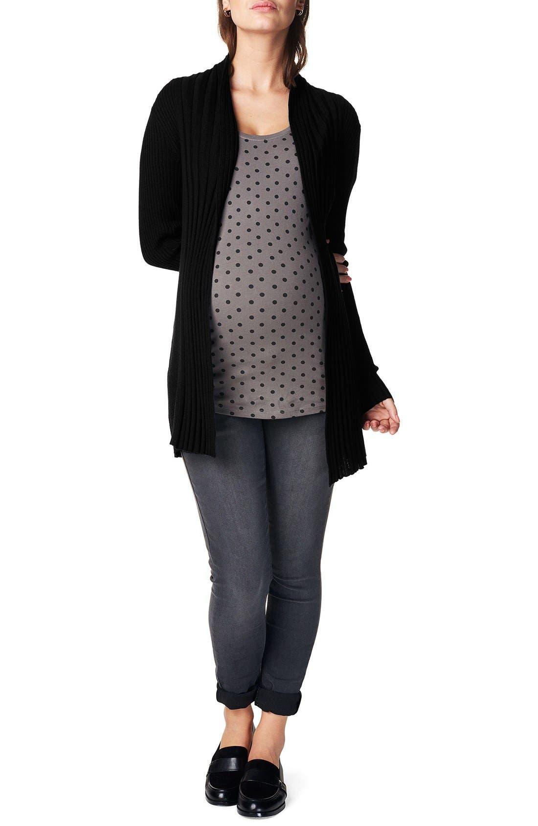 'Anne' Rib Knit Maternity Cardigan,                             Alternate thumbnail 2, color,                             Black