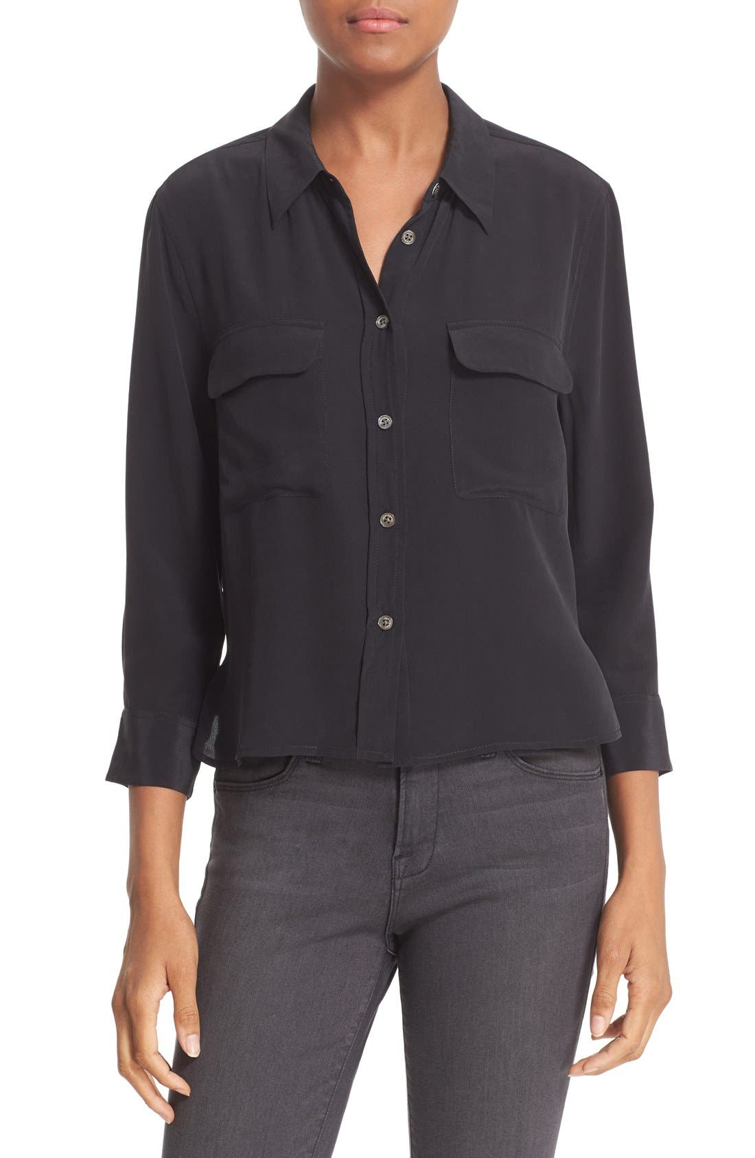 'Signature' Crop Three Quarter Sleeve Shirt,                         Main,                         color, True Black