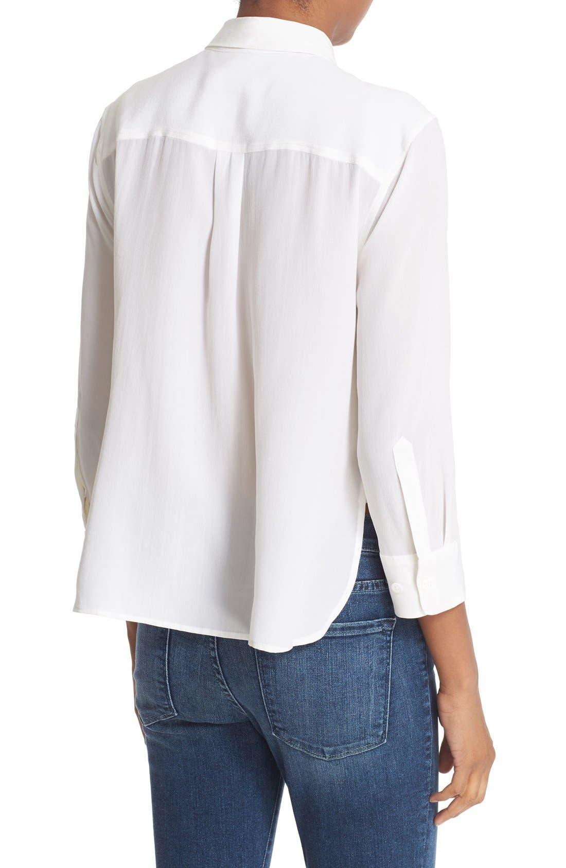 'Signature' Crop Three Quarter Sleeve Shirt,                             Alternate thumbnail 2, color,                             Bright White