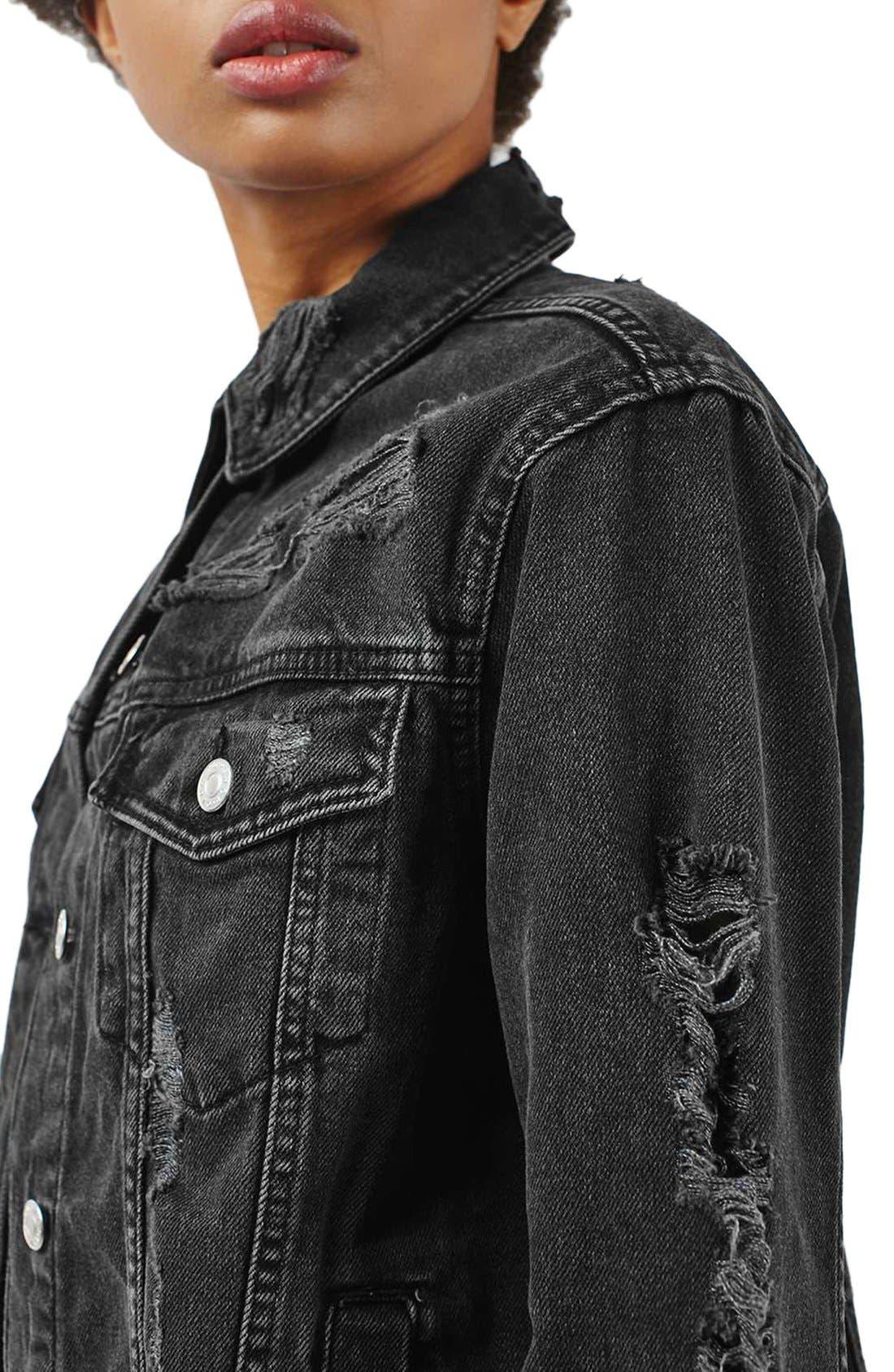 Alternate Image 5  - Topshop Moto Ripped Oversize Denim Jacket