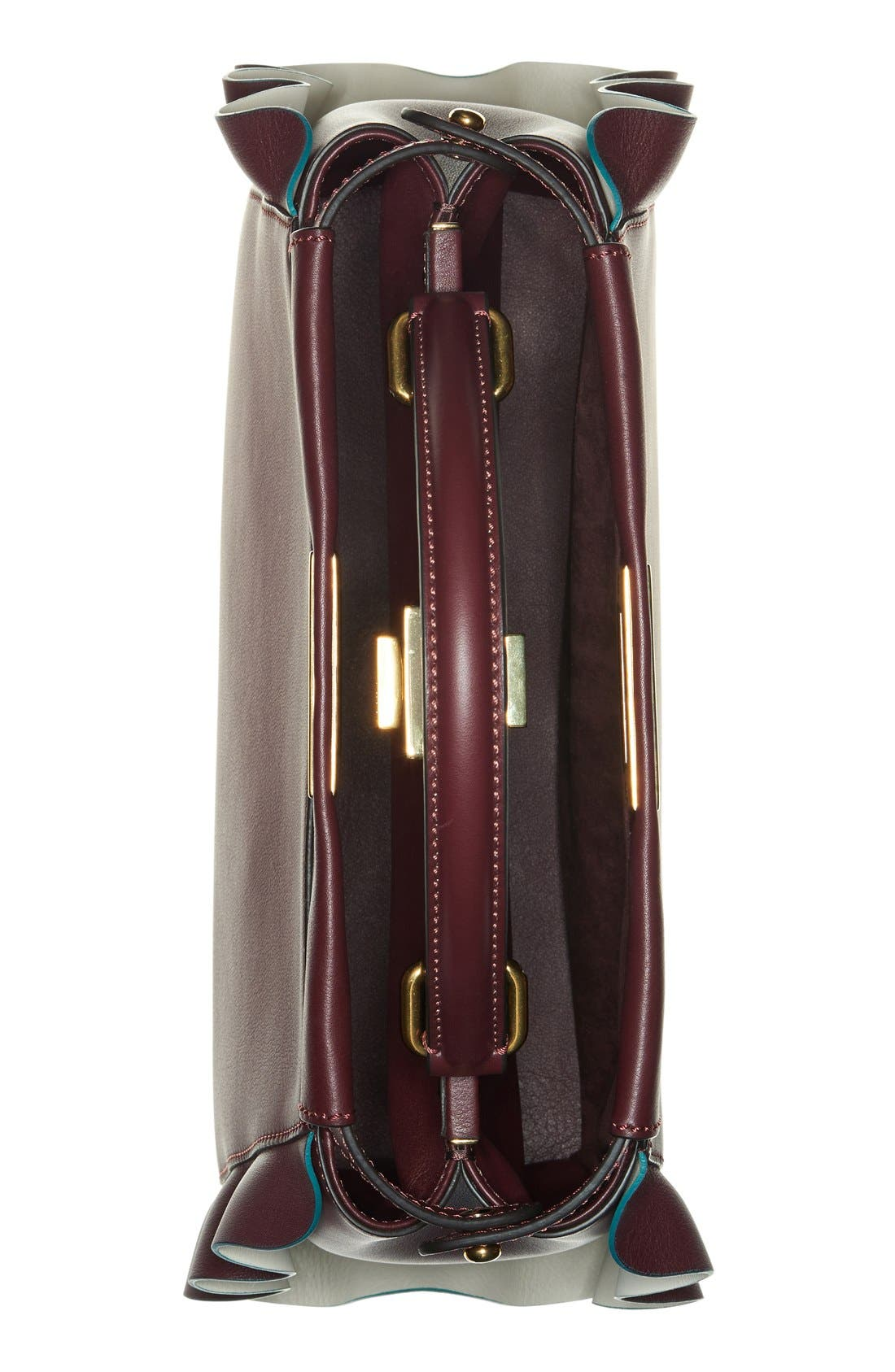 'Medium Peekaboo - Wave' Leather Bag,                             Alternate thumbnail 4, color,                             Bordeaux/ Milk/ Soft Gold
