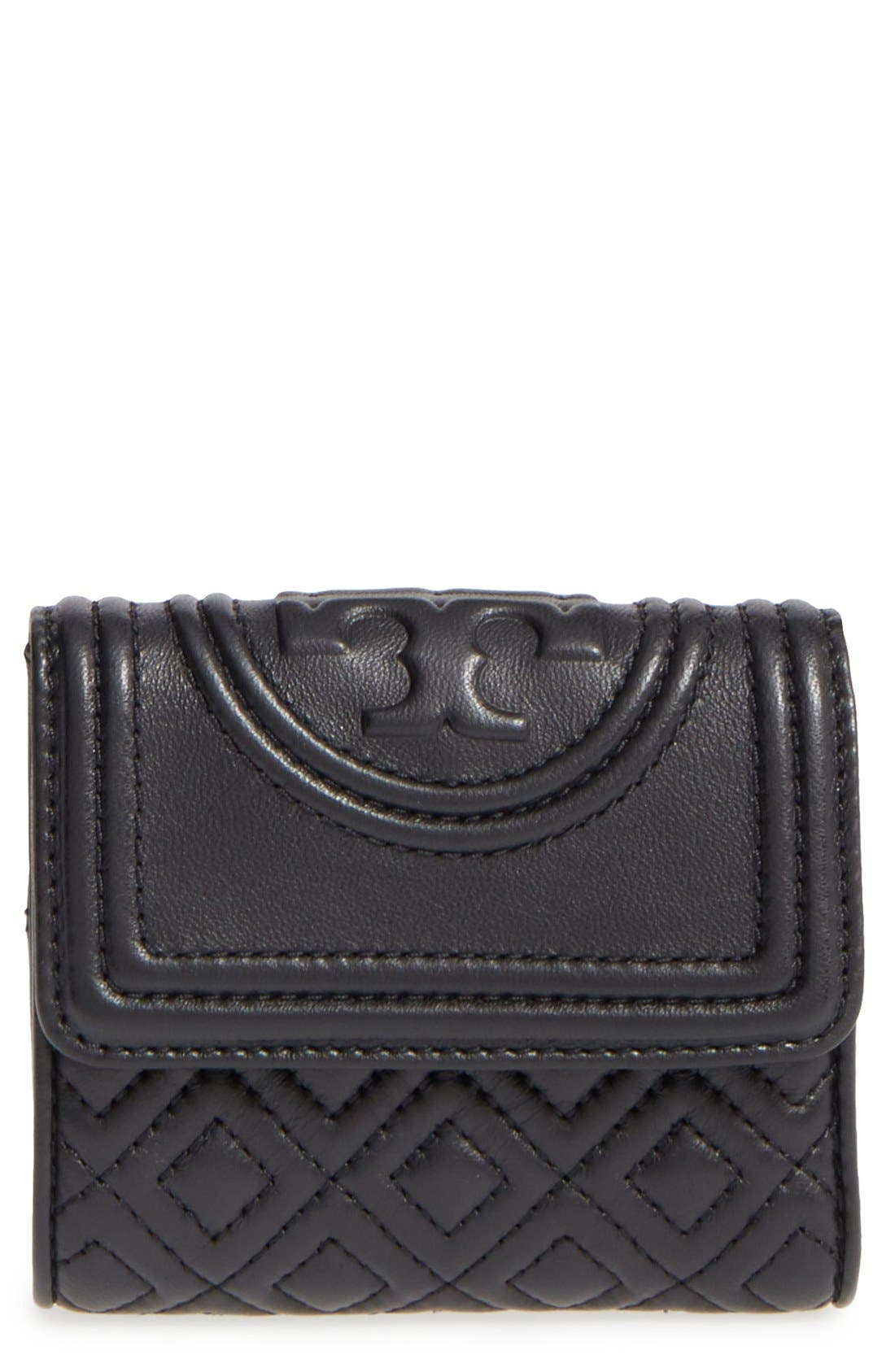 Main Image - Tory Burch 'Mini Fleming' Quilted Lambskin Leather Wallet