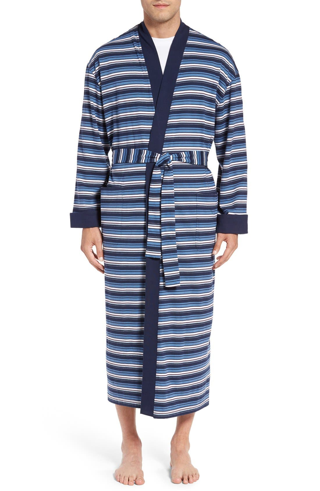 'Field House' Cotton Robe,                             Main thumbnail 1, color,                             Navy/ Burgundy Stripe