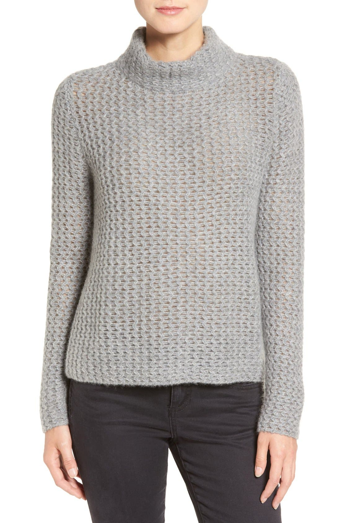 Stitch Detail Cashmere Mock Neck Sweater,                             Main thumbnail 1, color,                             Grey