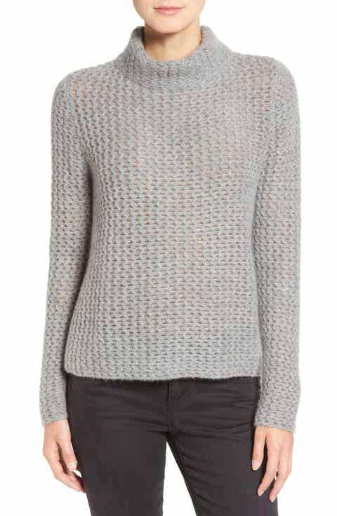 Halogen® Stitch Detail Cashmere Mock Neck Sweater (Regular & Petite)