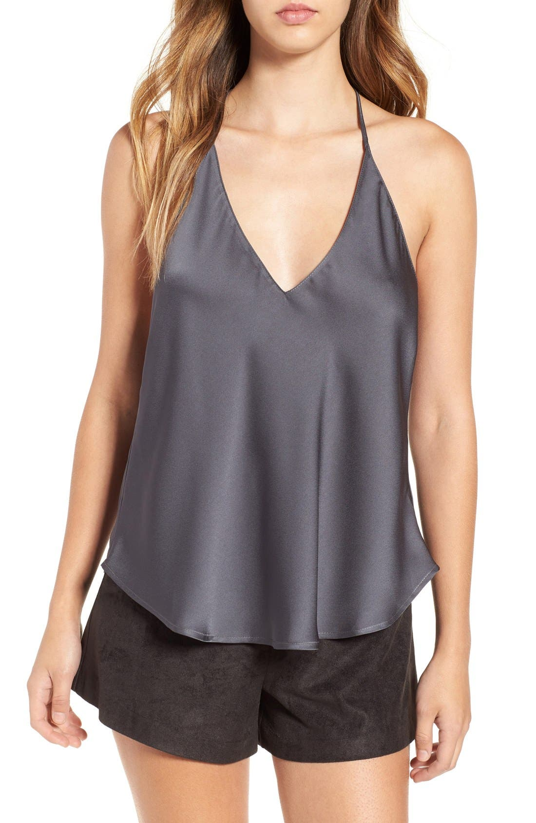 ASTR Satin T-Back Camisole,                         Main,                         color, Charcoal