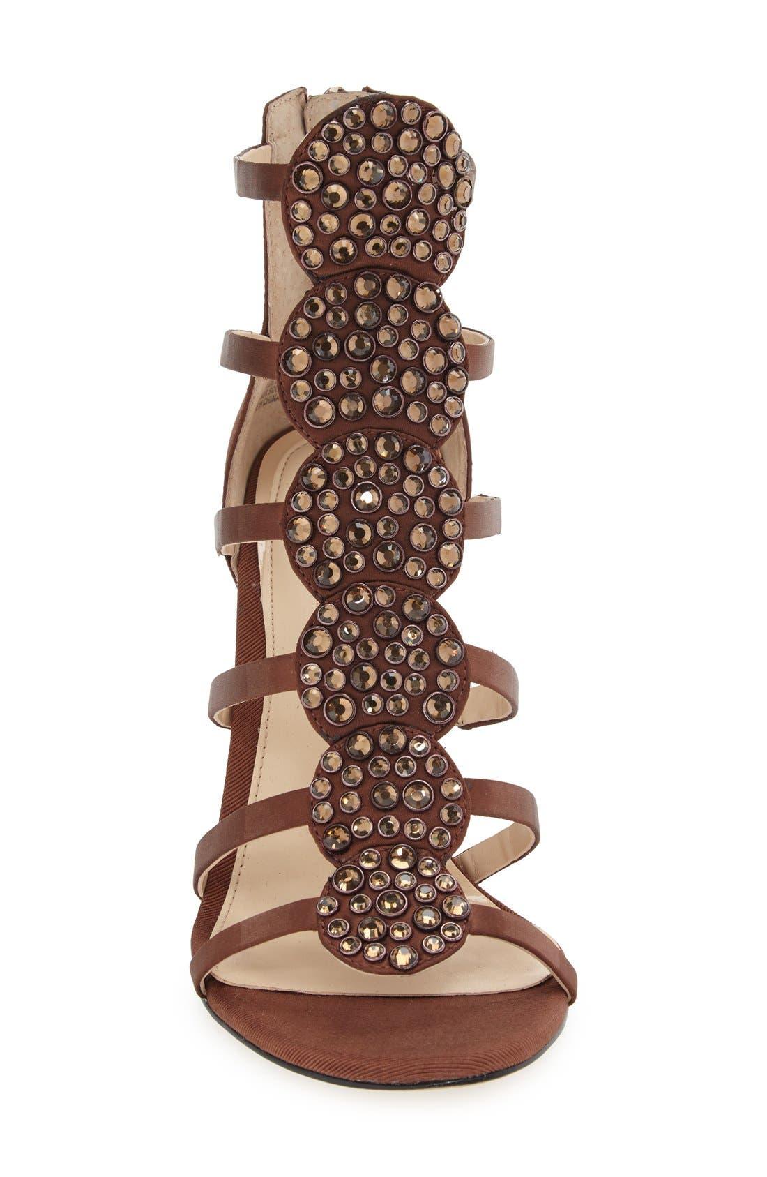 'Reya' Crystal Sandal,                             Alternate thumbnail 3, color,                             Bronze Satin