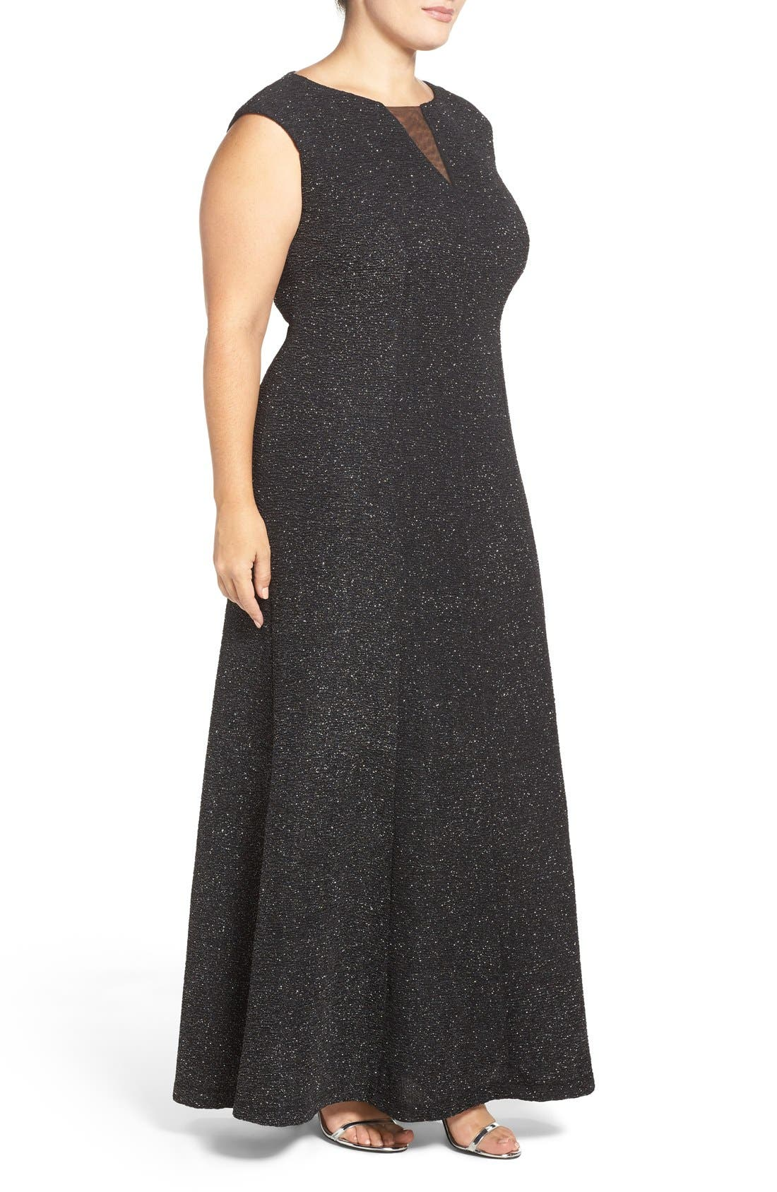 Cap Sleeve Mesh Inset Glitter Knit Gown,                             Alternate thumbnail 3, color,                             Black/ Silver