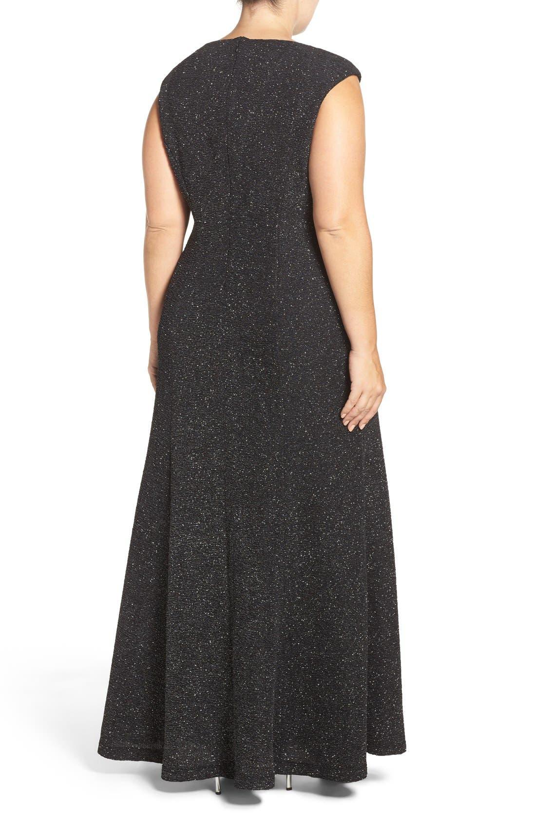 Cap Sleeve Mesh Inset Glitter Knit Gown,                             Alternate thumbnail 2, color,                             Black/ Silver