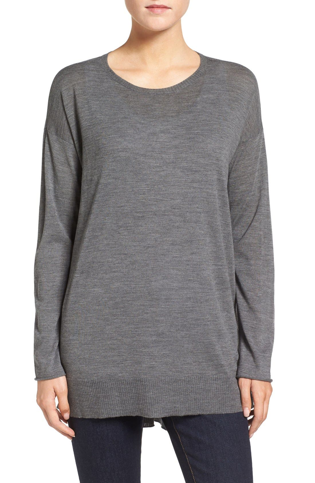Alternate Image 1 Selected - Eileen Fisher Featherweight Merino Wool Crewneck Sweater