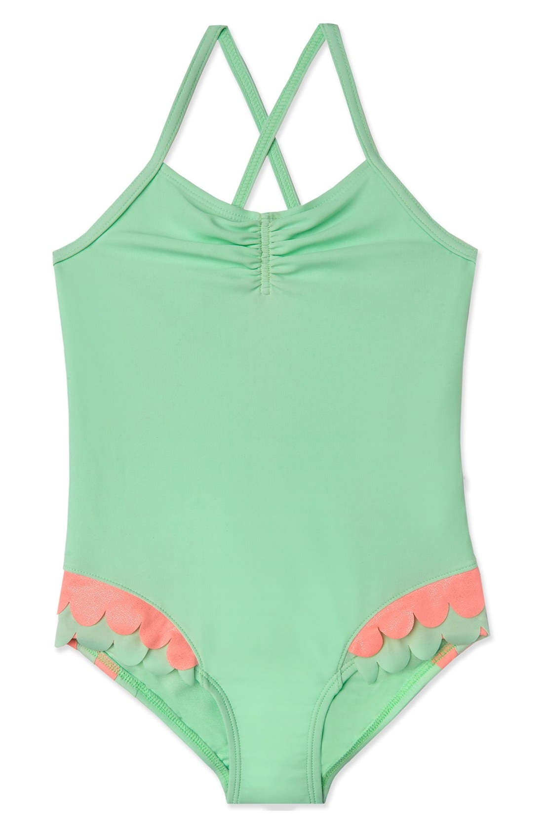 'Mermaid Scallops' One-Piece Swimsuit,                             Main thumbnail 1, color,                             Mint Pink