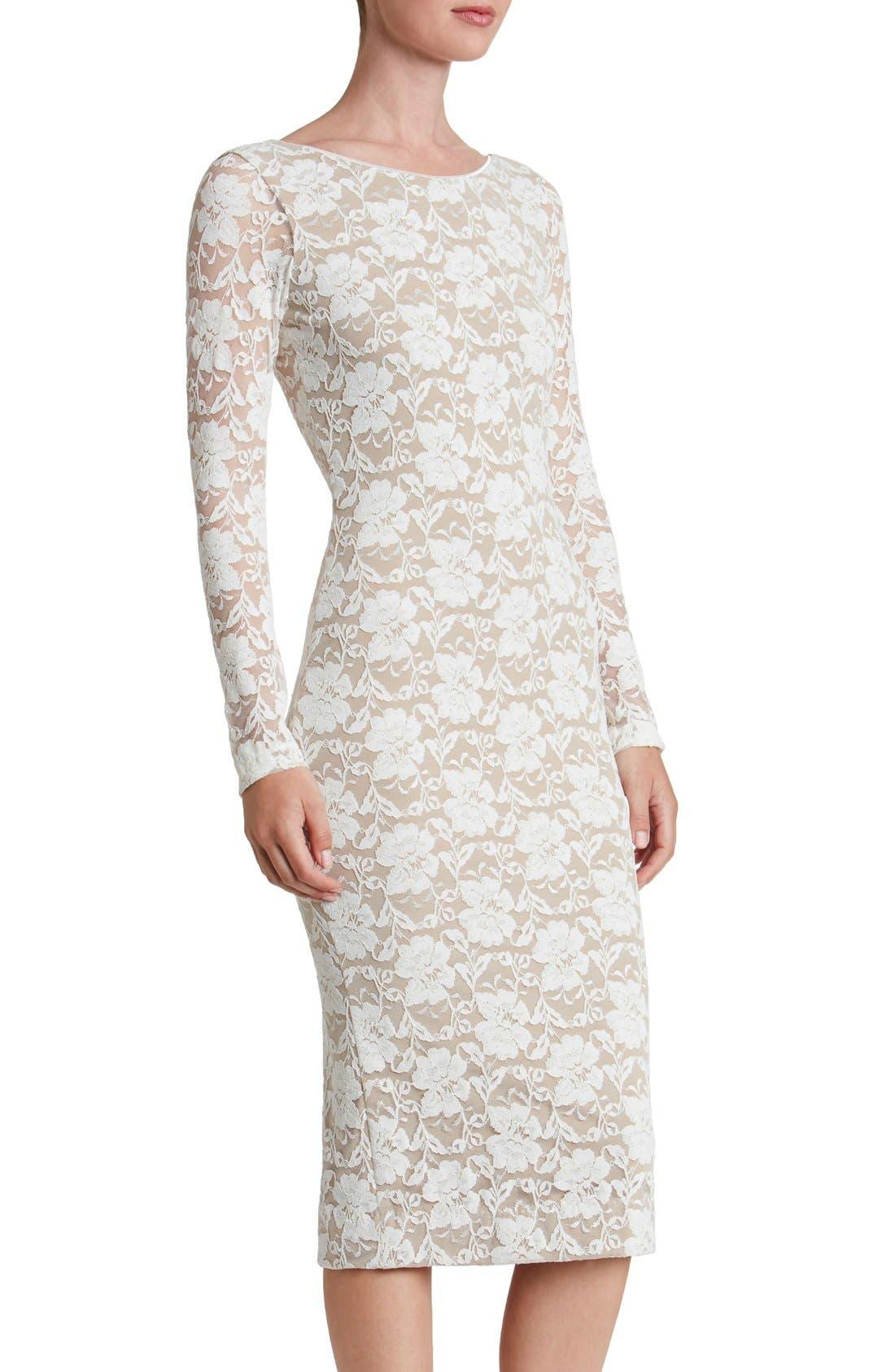 Emery Lace Body-Con Midi Dress,                         Main,                         color, Ivory/ Nude