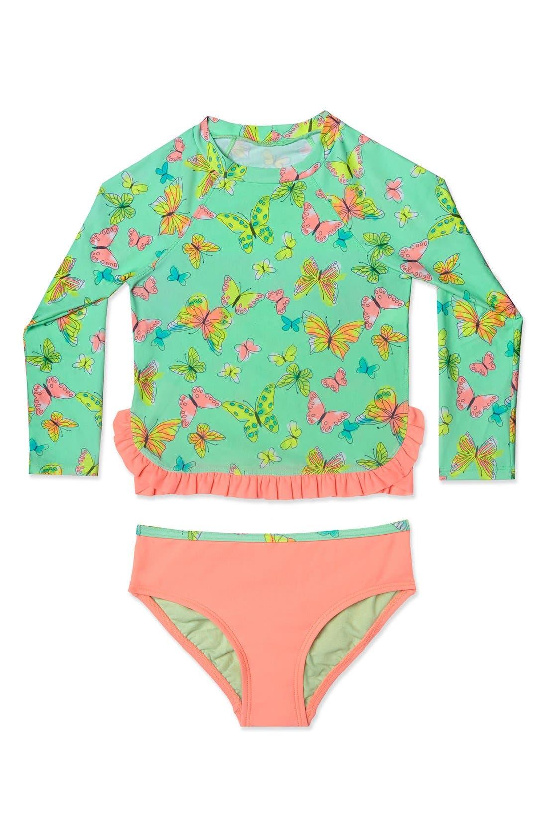 Main Image - Hula Star 'Butterfly' Two-Piece Rashguard Swimsuit (Toddler Girls & Little Girls)