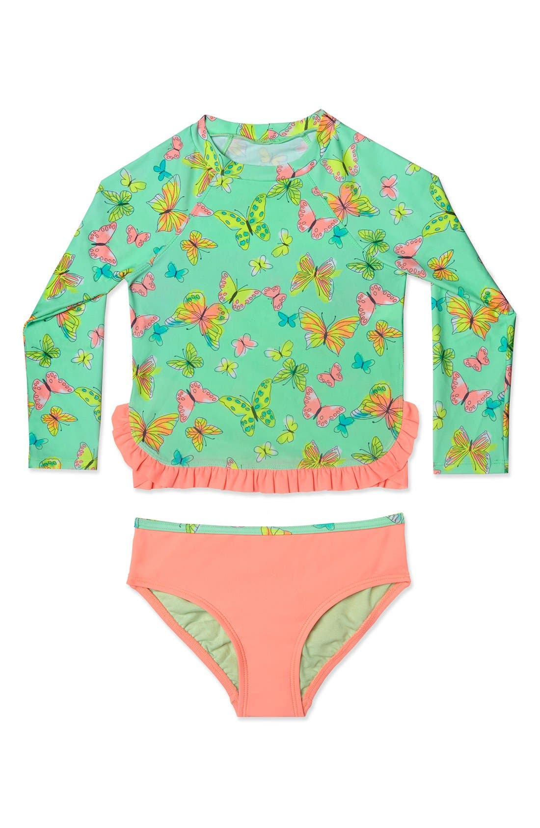 'Butterfly' Two-Piece Rashguard Swimsuit,                         Main,                         color, Mint
