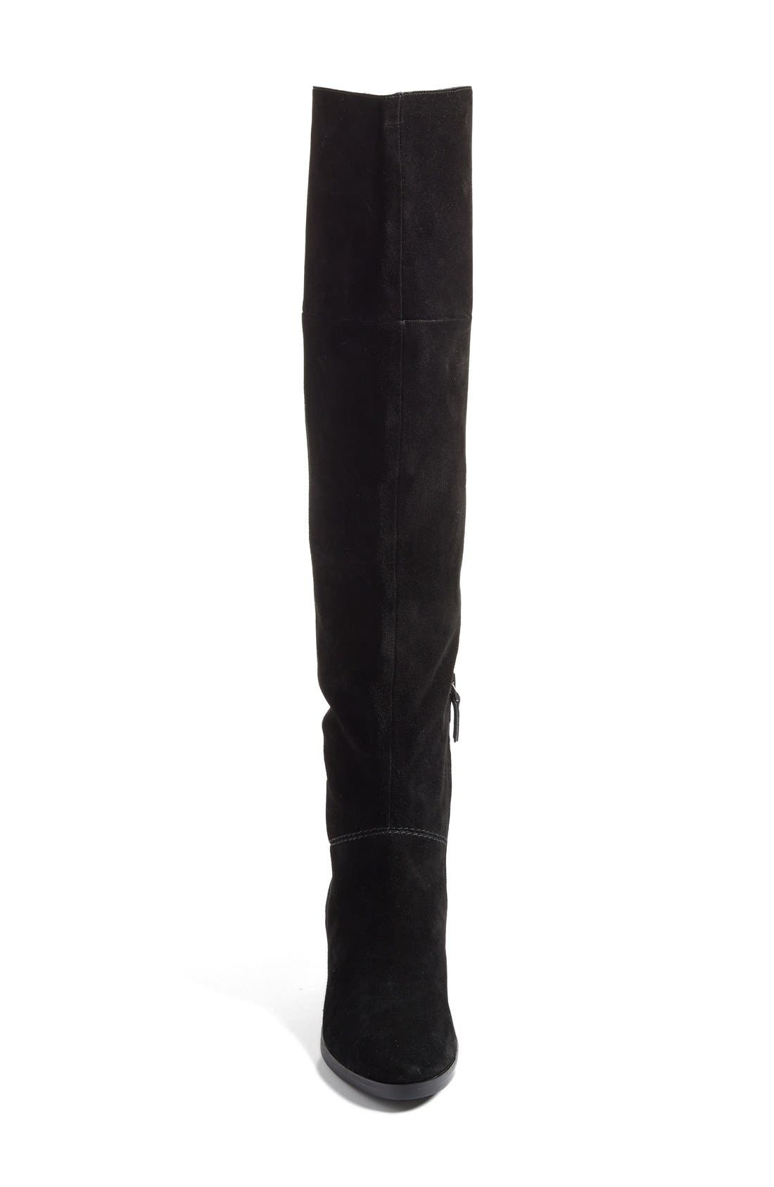 Tessie Tall Boot,                             Alternate thumbnail 3, color,                             Black / Black Suede