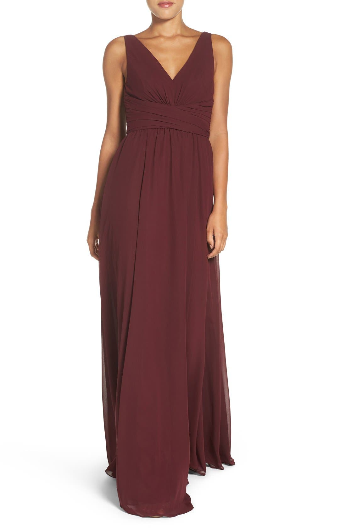 'Justine' Double V-Neck Chiffon Gown,                             Main thumbnail 1, color,                             Ruby
