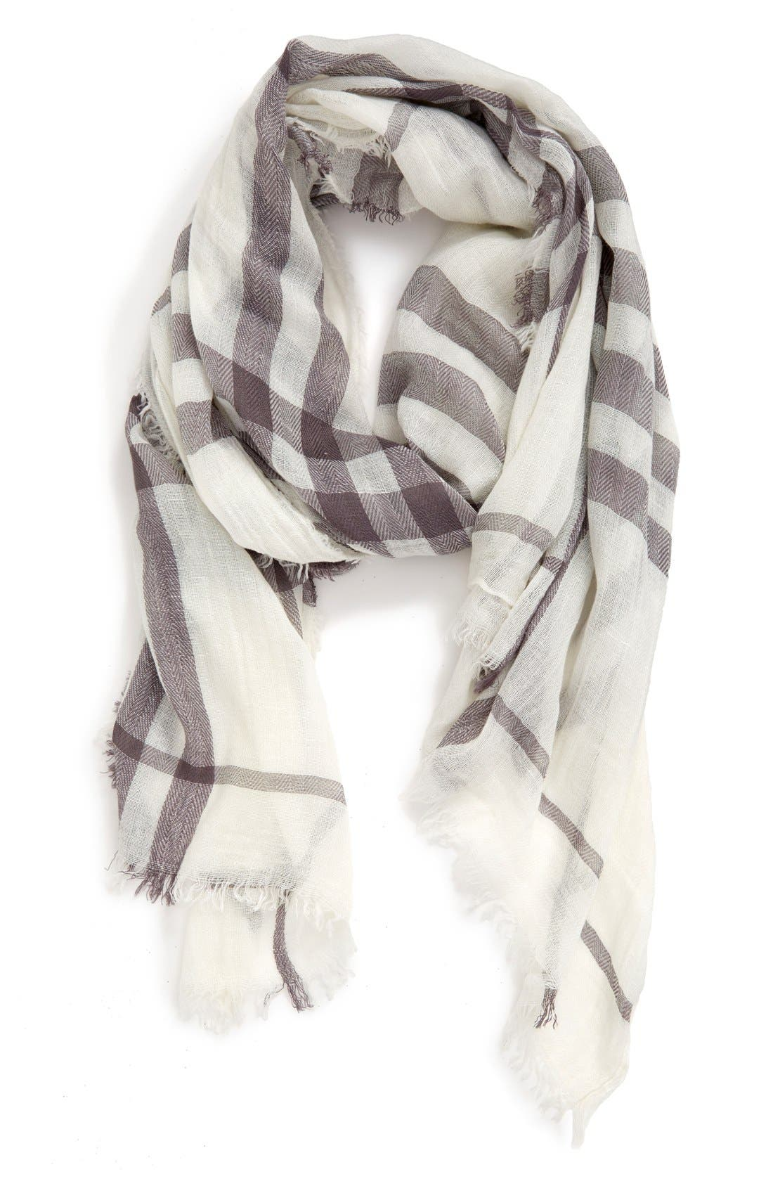 Plaid Oblong Scarf,                         Main,                         color, White