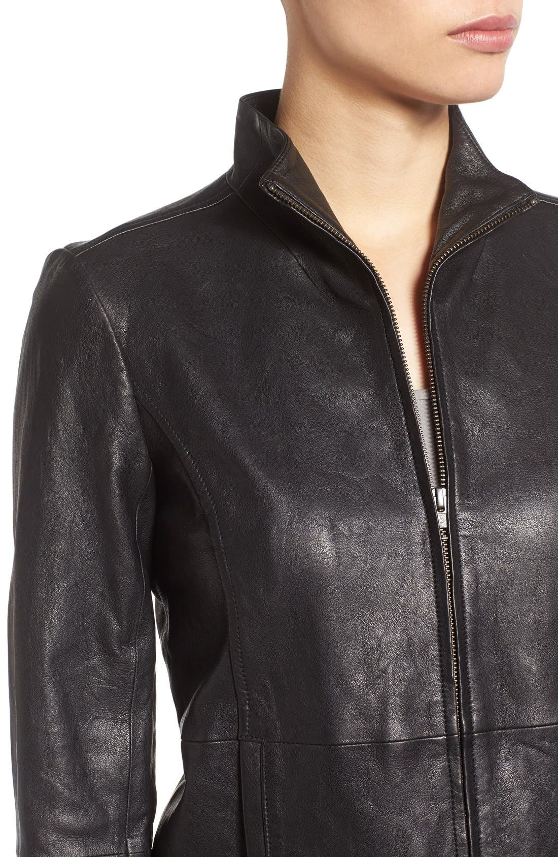 Rumpled Luxe Leather Stand Collar Jacket,                             Alternate thumbnail 4, color,                             Black