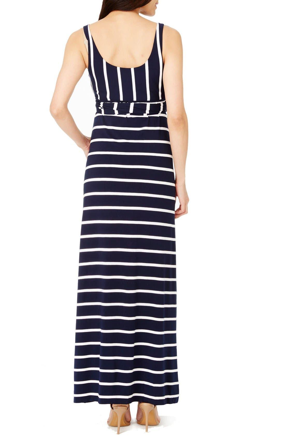 'Kendal' Stripe Maternity Maxi Dress,                             Alternate thumbnail 2, color,                             Navy White Stripe