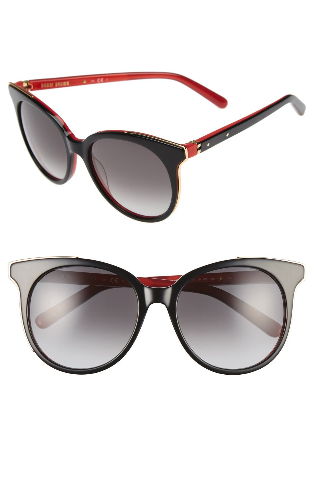'The Lucy' 54mm Sunglasses,                             Main thumbnail 1, color,                             Black/ Red