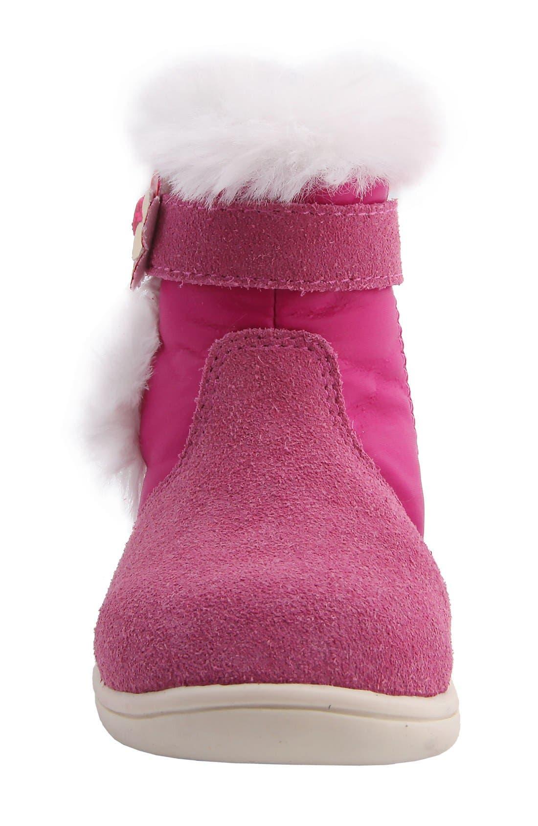 Nina 'Anya' Faux Fur Bootie,                             Alternate thumbnail 2, color,                             Pink Suede