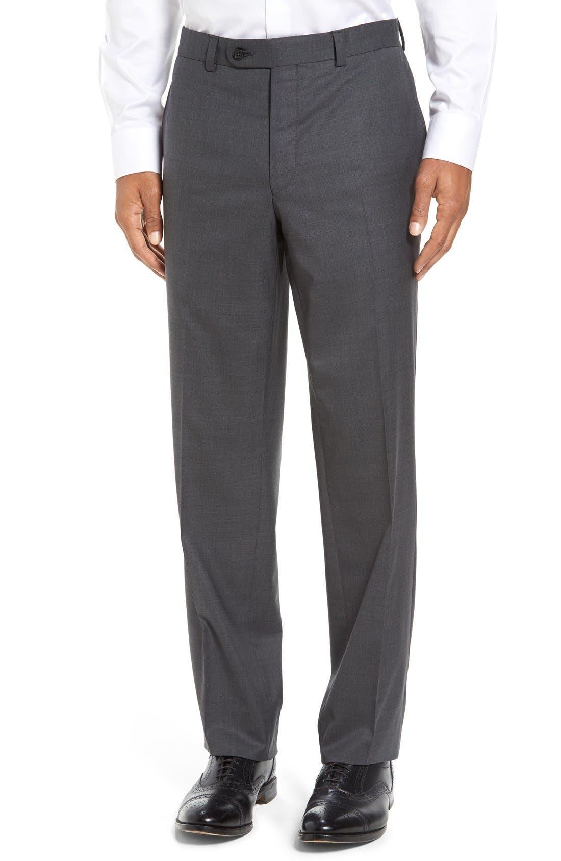 Main Image - David Donahue Ryan Regular Fit Wool Trousers