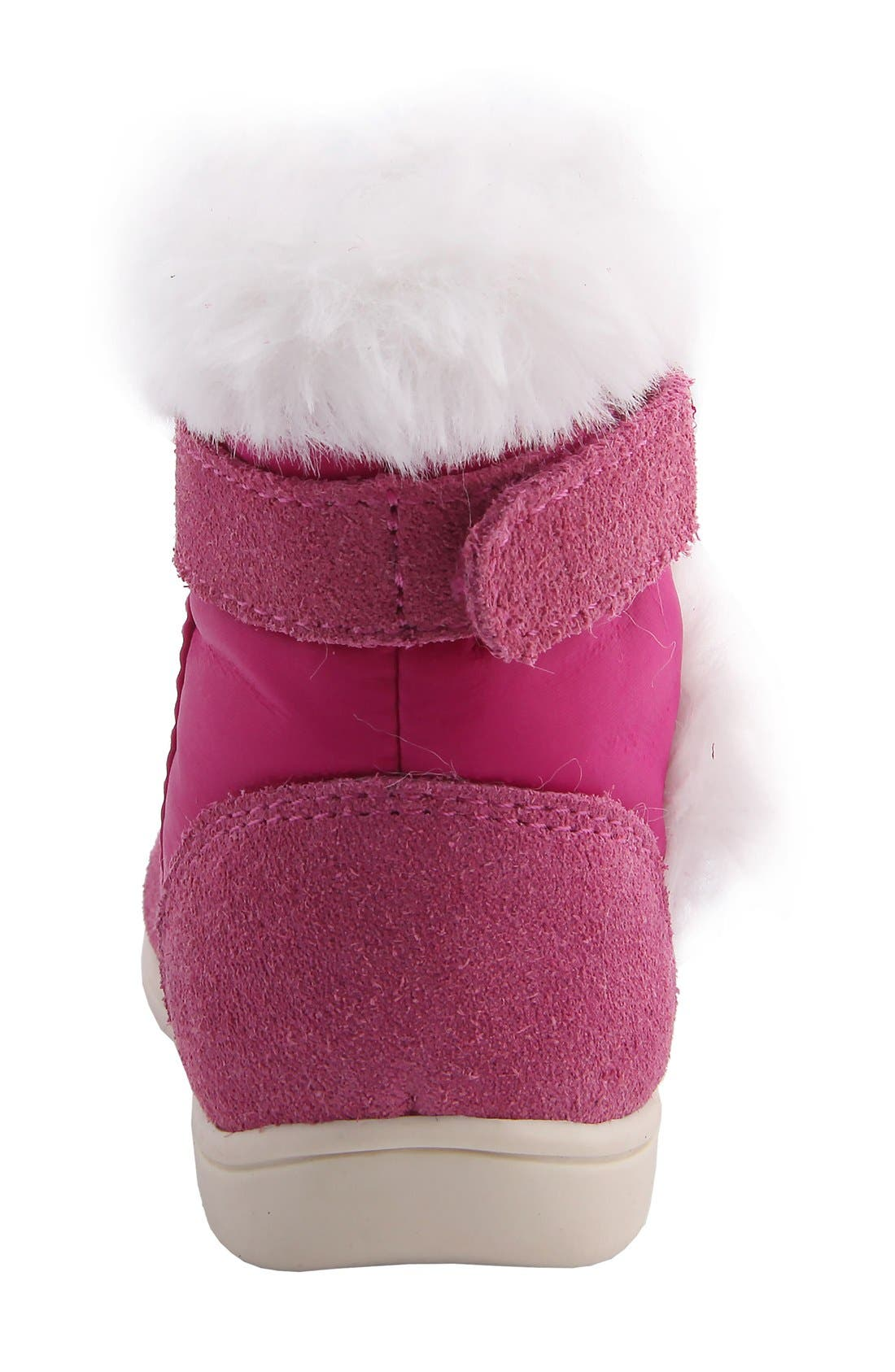 Nina 'Anya' Faux Fur Bootie,                             Alternate thumbnail 4, color,                             Pink Suede