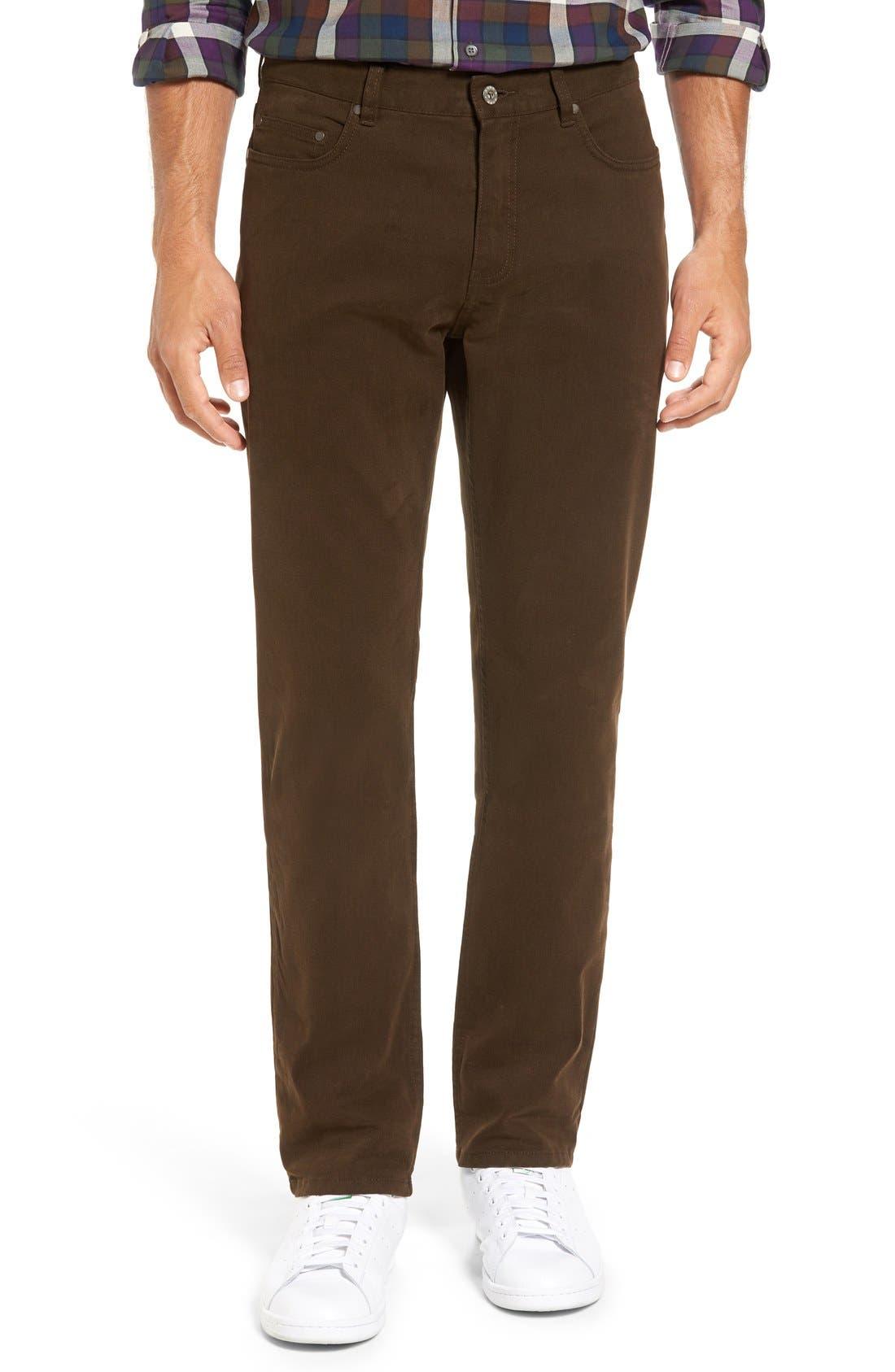 'Barters' Straight Leg Twill Pants,                         Main,                         color, Dark Tobacco