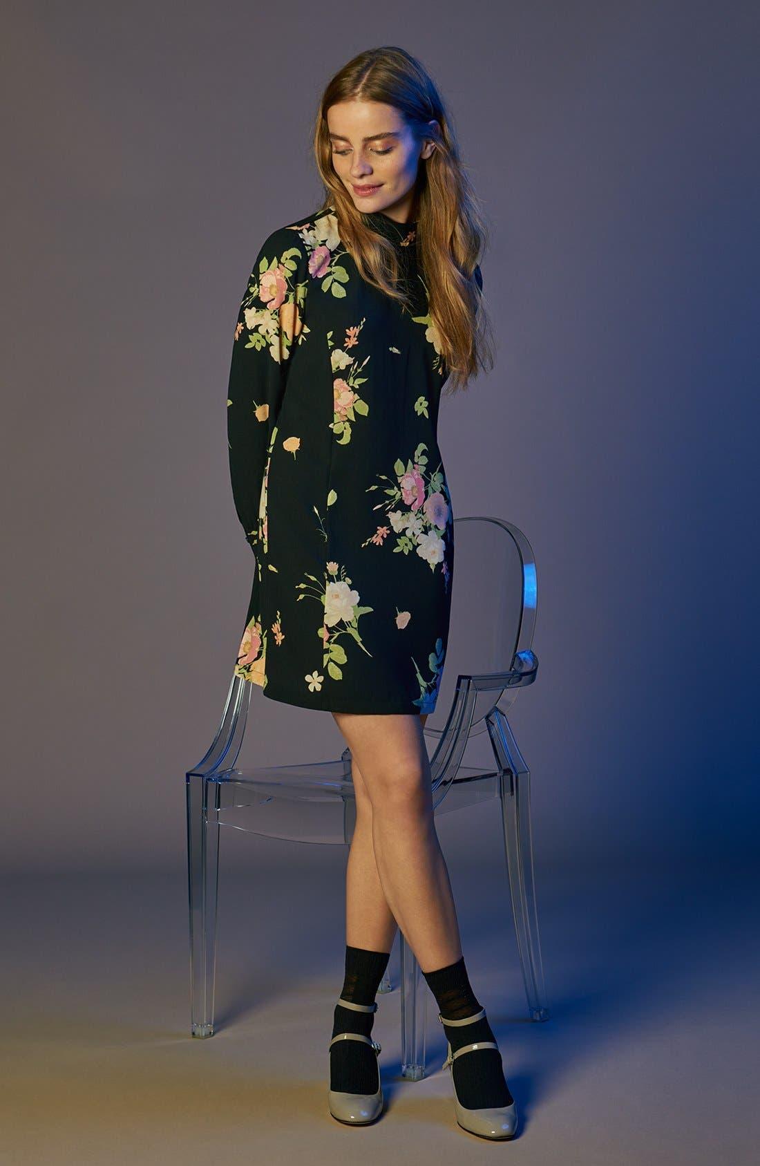 Alternate Image 2  - Leith Floral Print Mock Neck Shift Dress