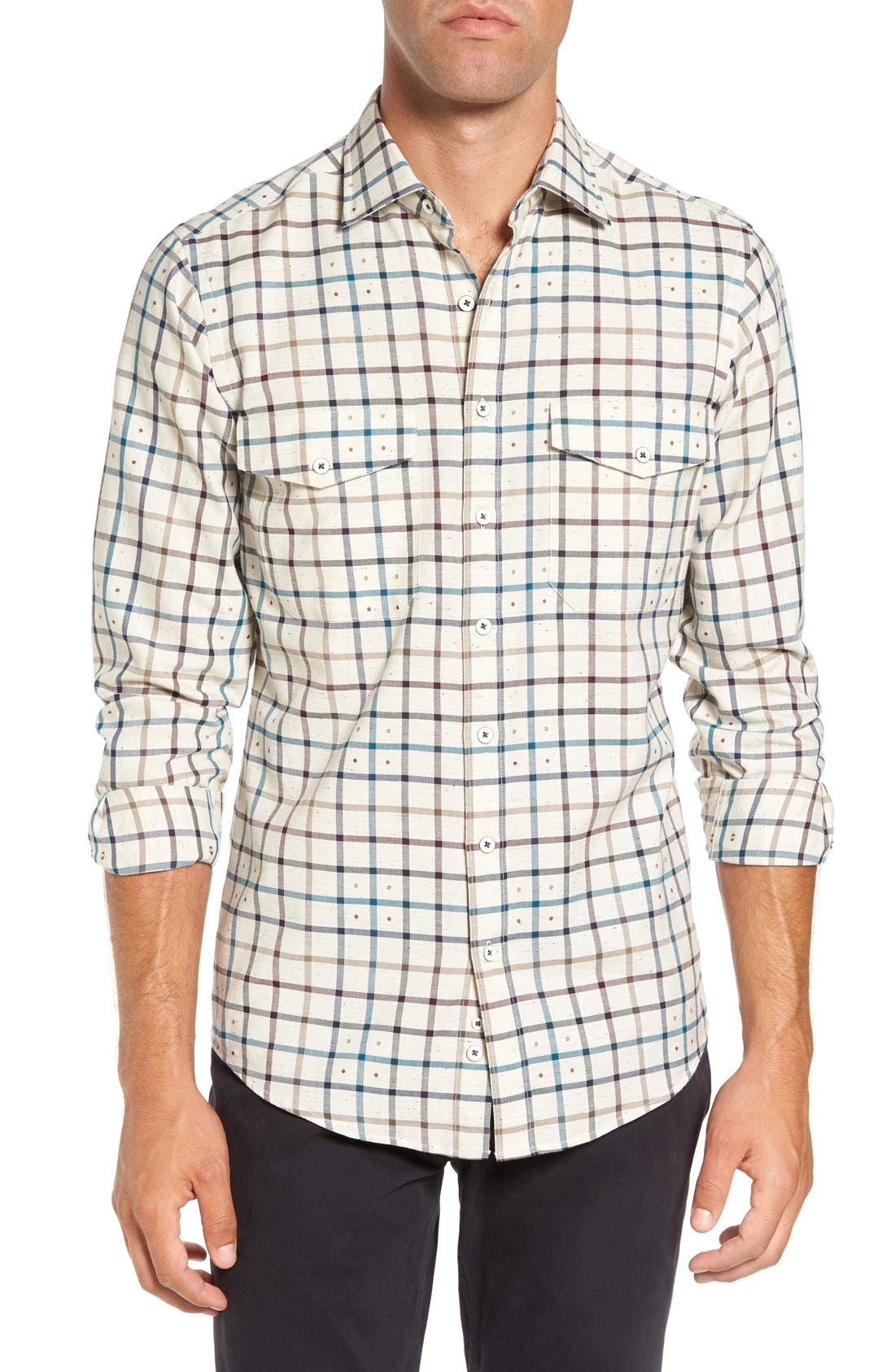 'Harker' Sports Fit Check Jacquard Sport Shirt,                             Main thumbnail 1, color,                             Natural