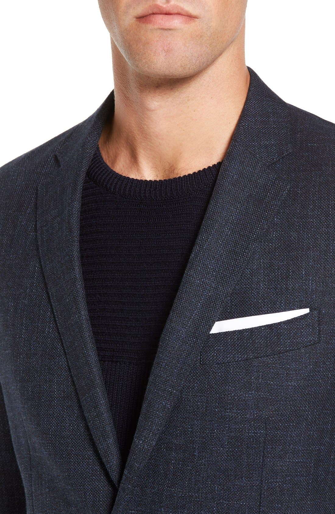 'Heaton' Sports Fit Cotton & Wool Sport Coat,                             Alternate thumbnail 4, color,                             Navy