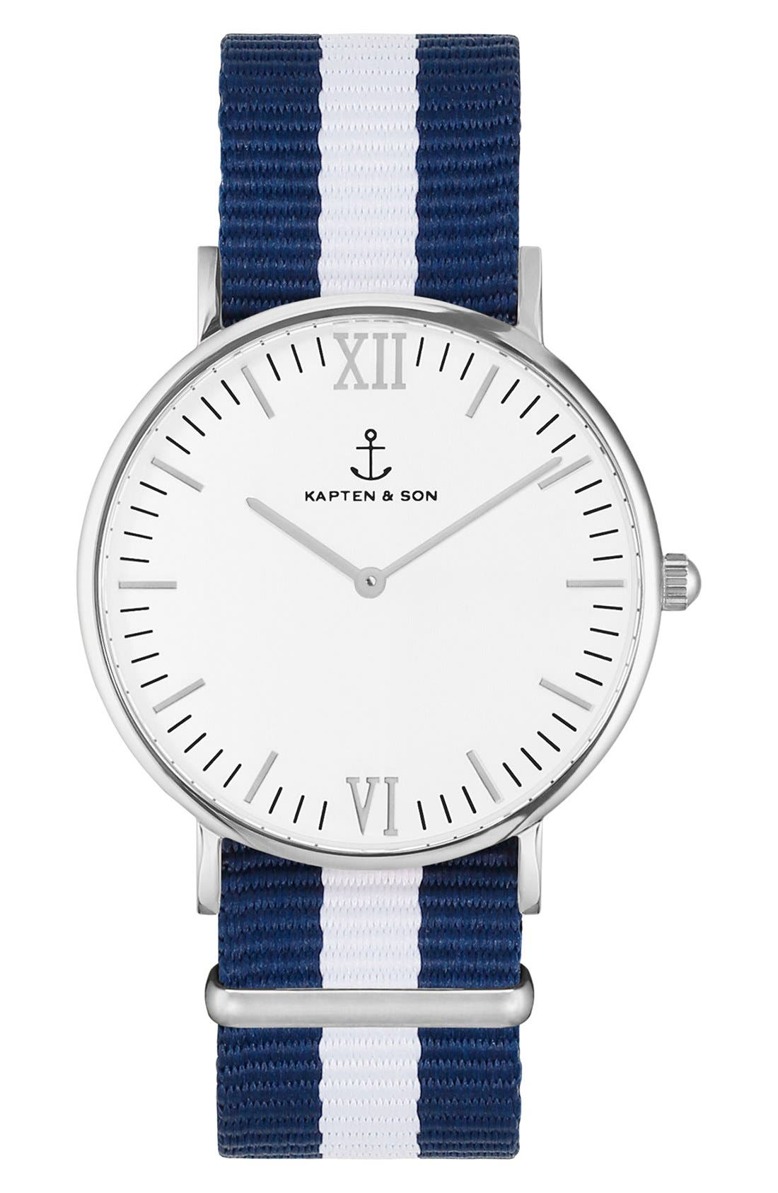 Campina Nylon Strap Watch, 36mm,                             Main thumbnail 1, color,                             Blue/ White/ Silver