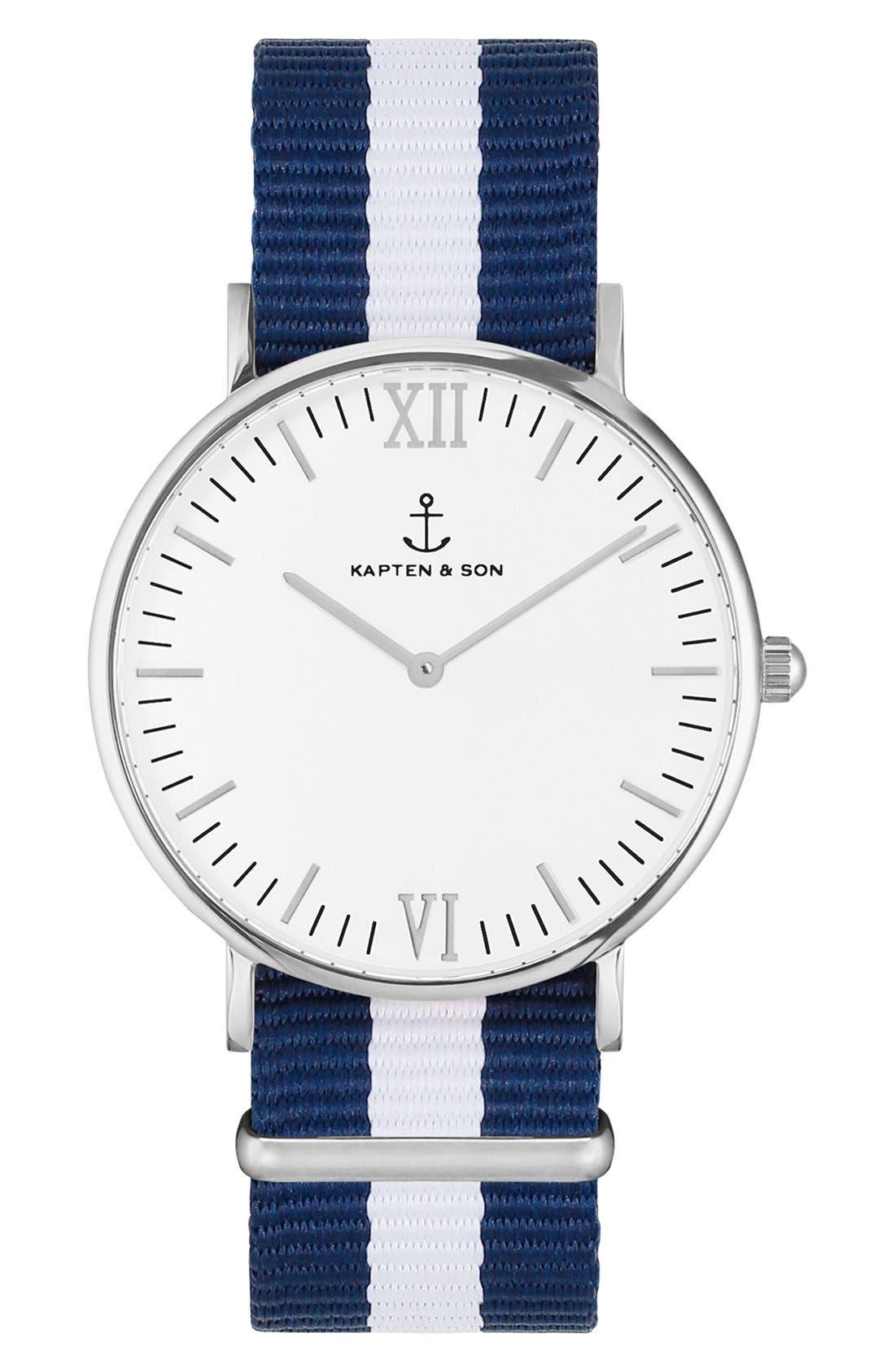 Campina Nylon Strap Watch, 36mm,                         Main,                         color, Blue/ White/ Silver