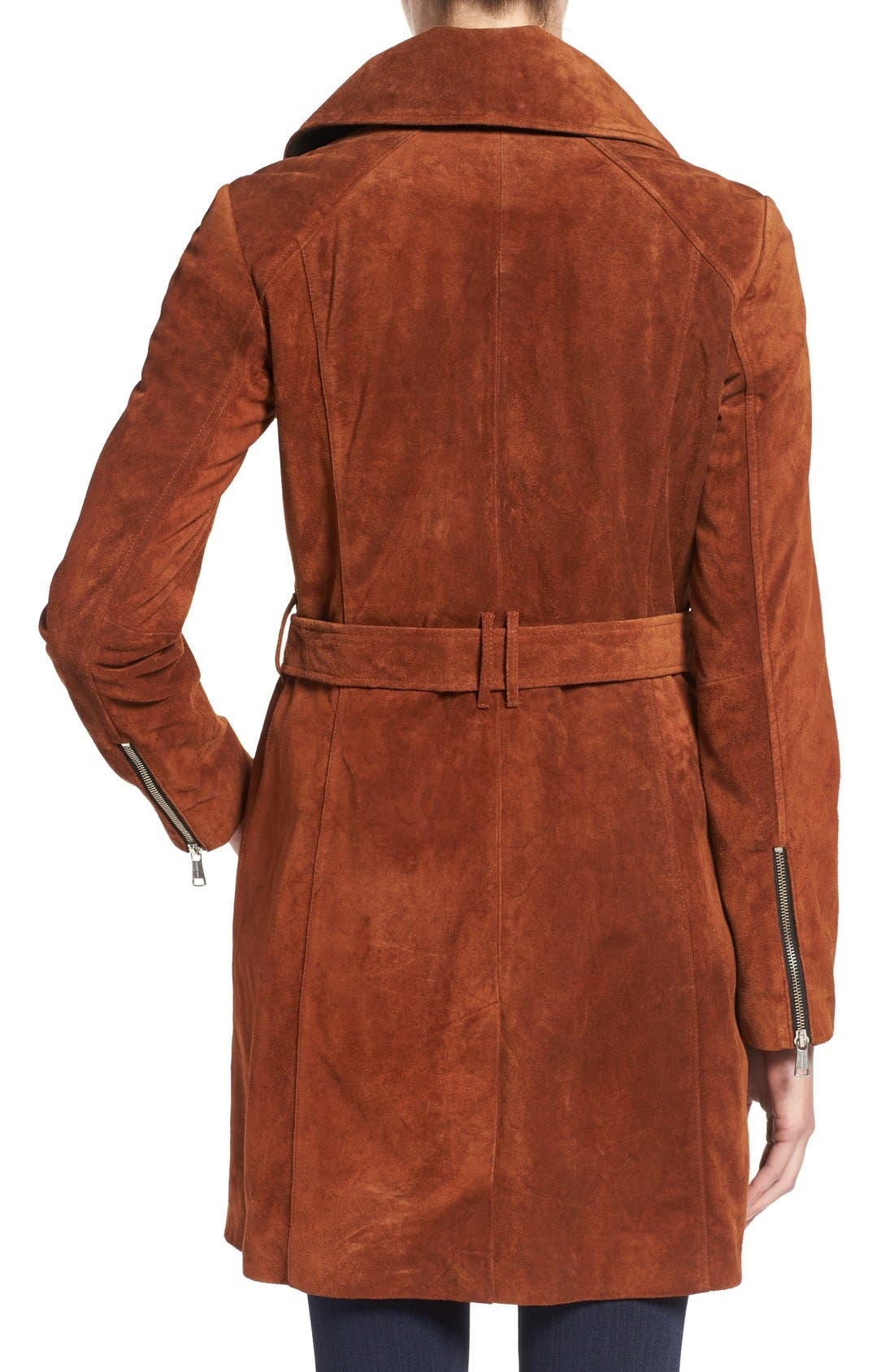 Alternate Image 2  - Andrew Marc 'Sienna 33' Suede Belted Trench Coat
