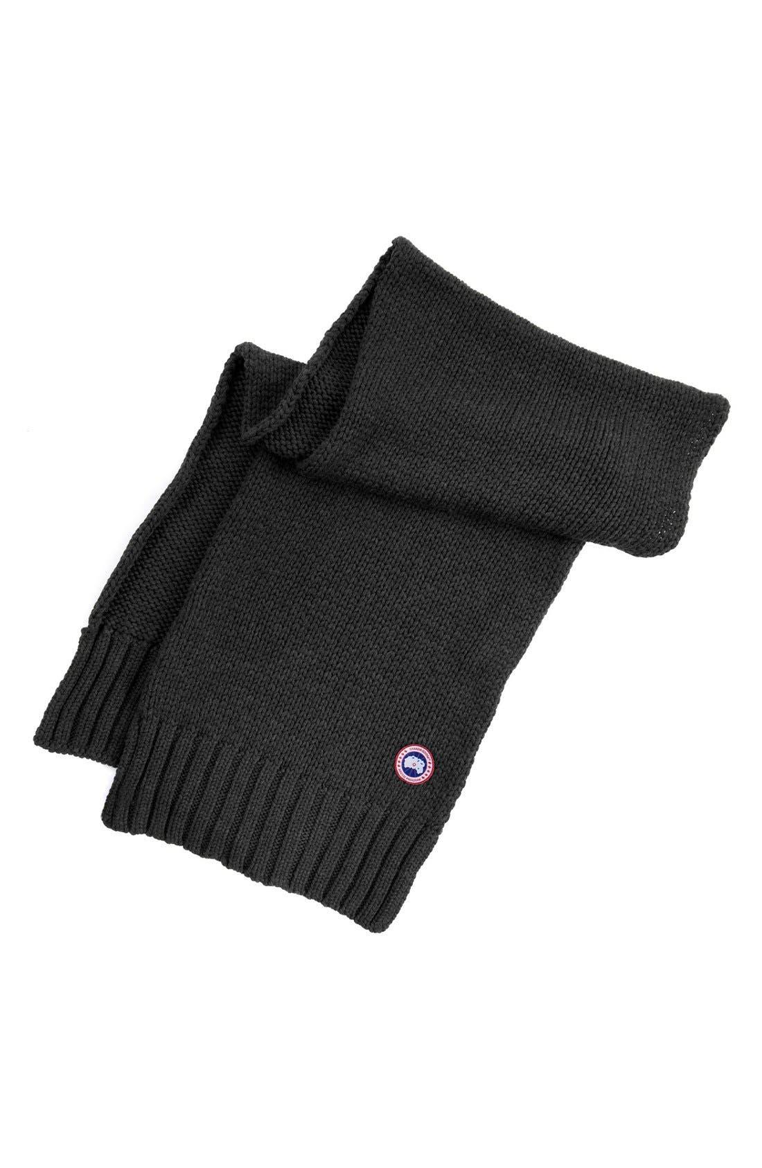Knit Merino Wool Scarf,                         Main,                         color, Black