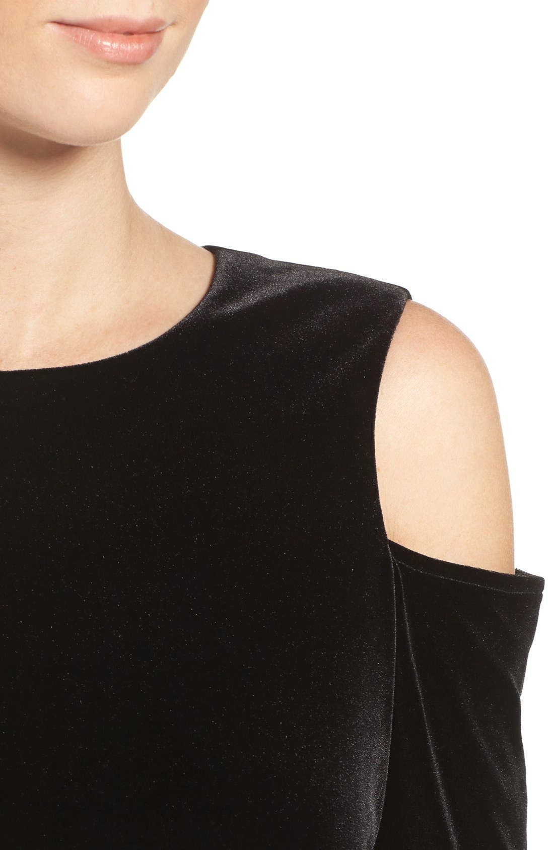 Alternate Image 5  - Eliza J Cold Shoulder Velvet Top