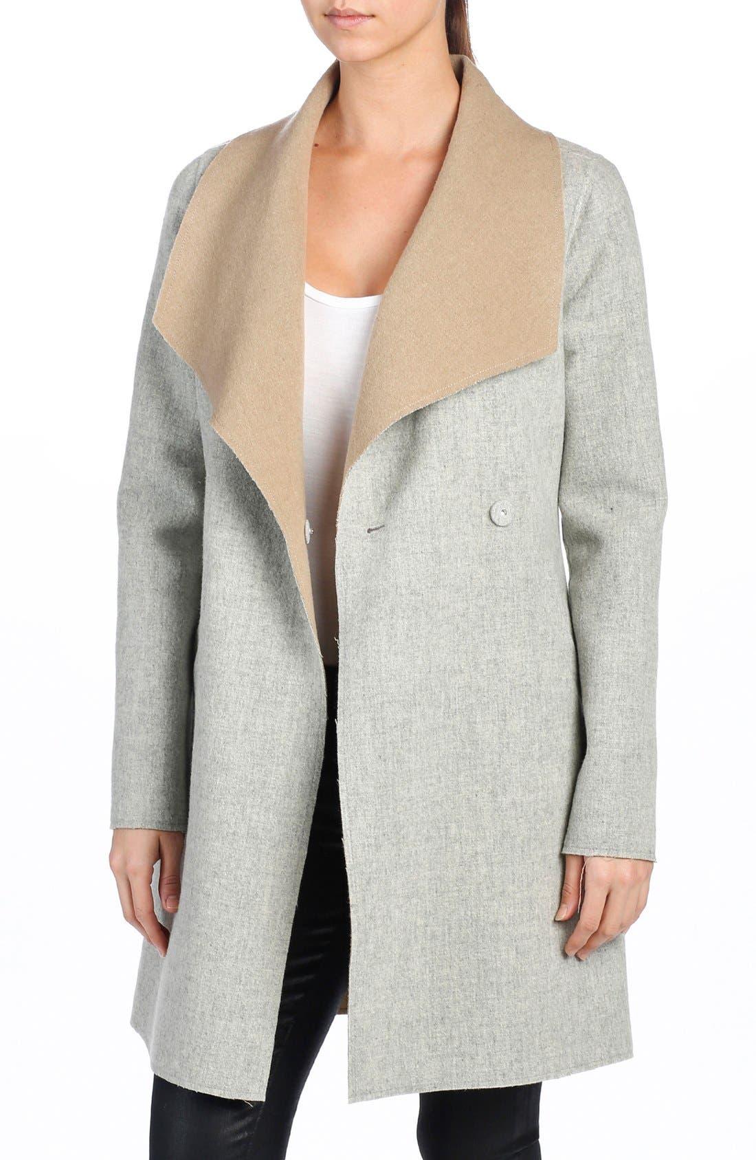 'Lily' Drape Collar Wool Blend Coat,                         Main,                         color, Heather Grey/ Caramel
