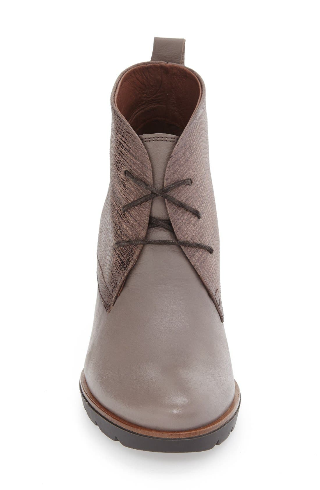 'Harmonie' Lace-Up Wedge Bootie,                             Alternate thumbnail 3, color,                             Brown Leather