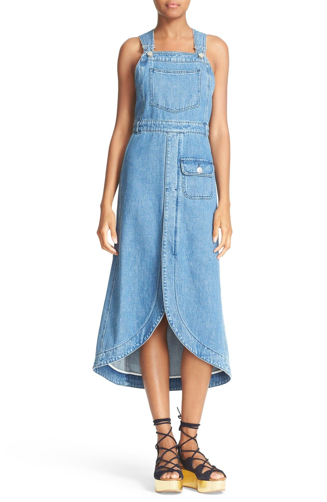 Main Image - See by Chloé Denim Overall Dress