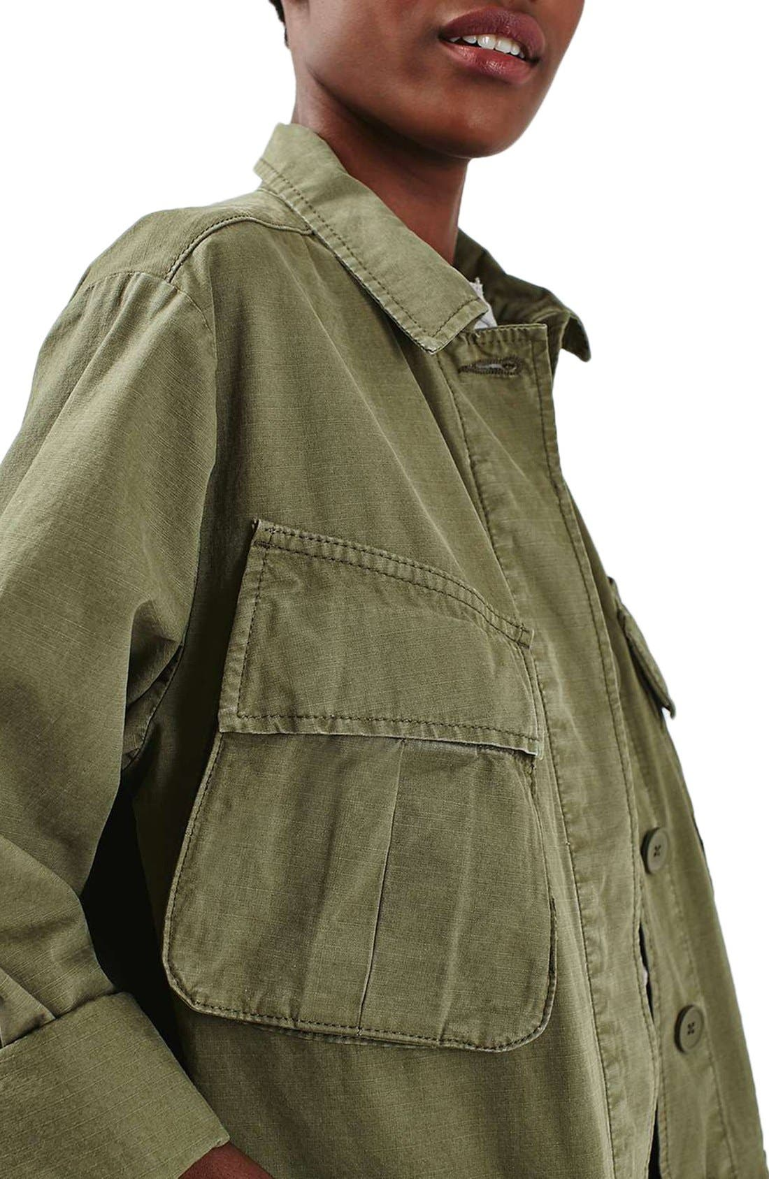 Alternate Image 6  - Topshop Oversize Army Shirt Jacket